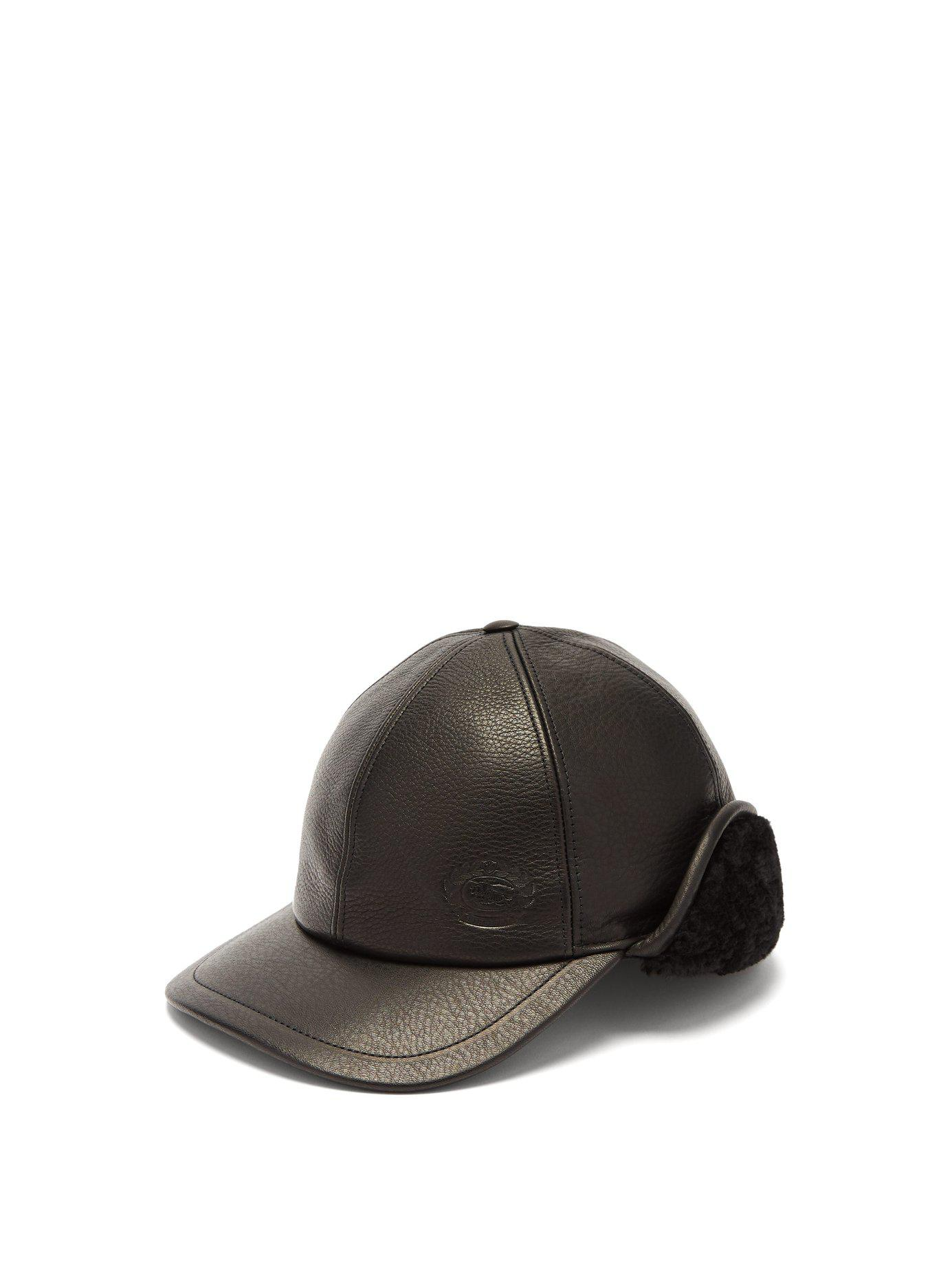 Lyst - Burberry Explorer Leather Cap in Black fd548f92fa0