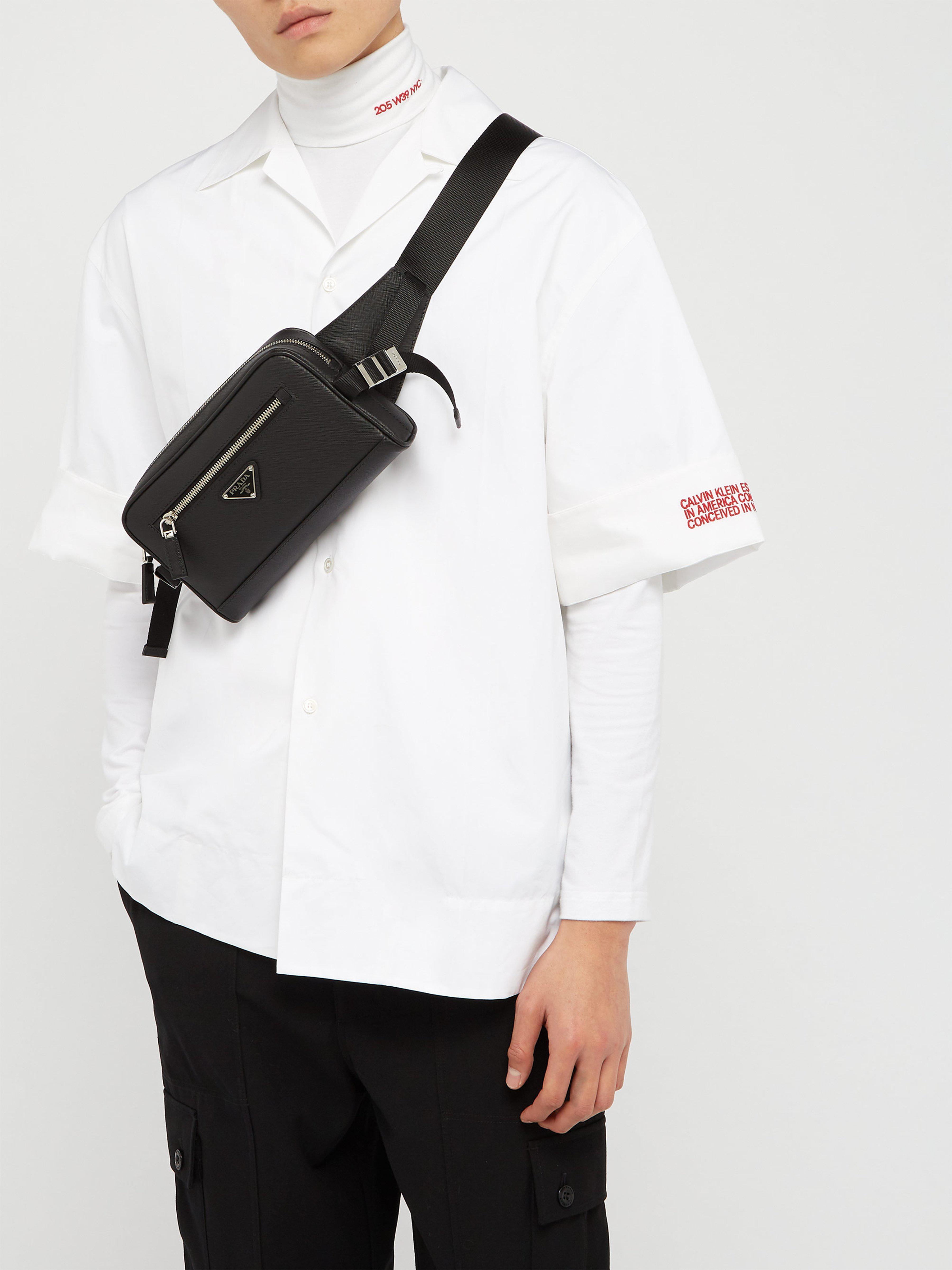 6d32404e42 Prada Saffiano Leather Belt Bag in Black for Men - Lyst