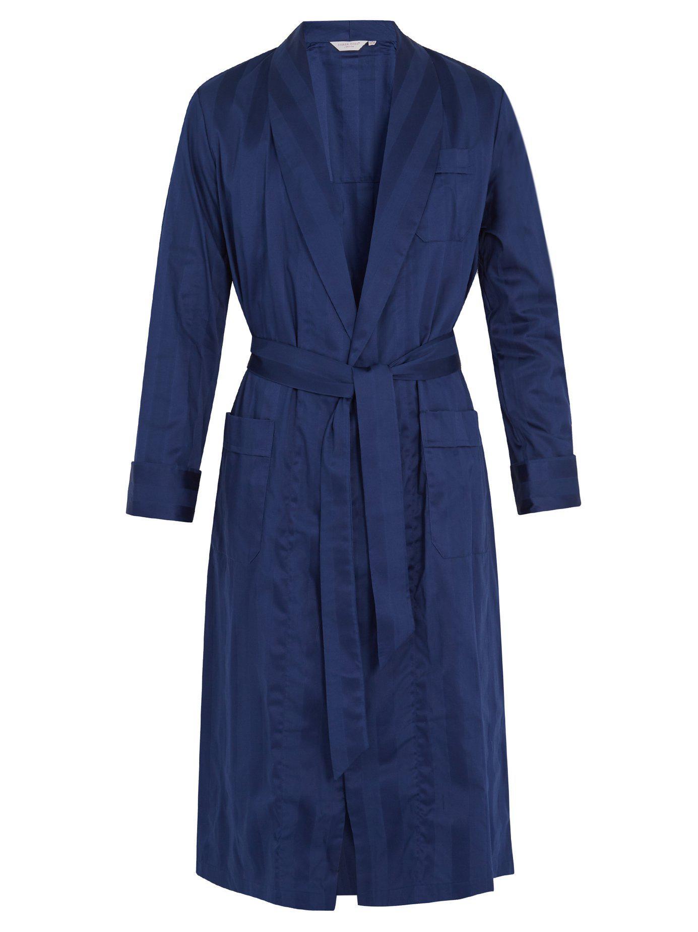 Lyst - Derek Rose Lingfield Cotton Striped Bathrobe in Blue for Men 796da2f77