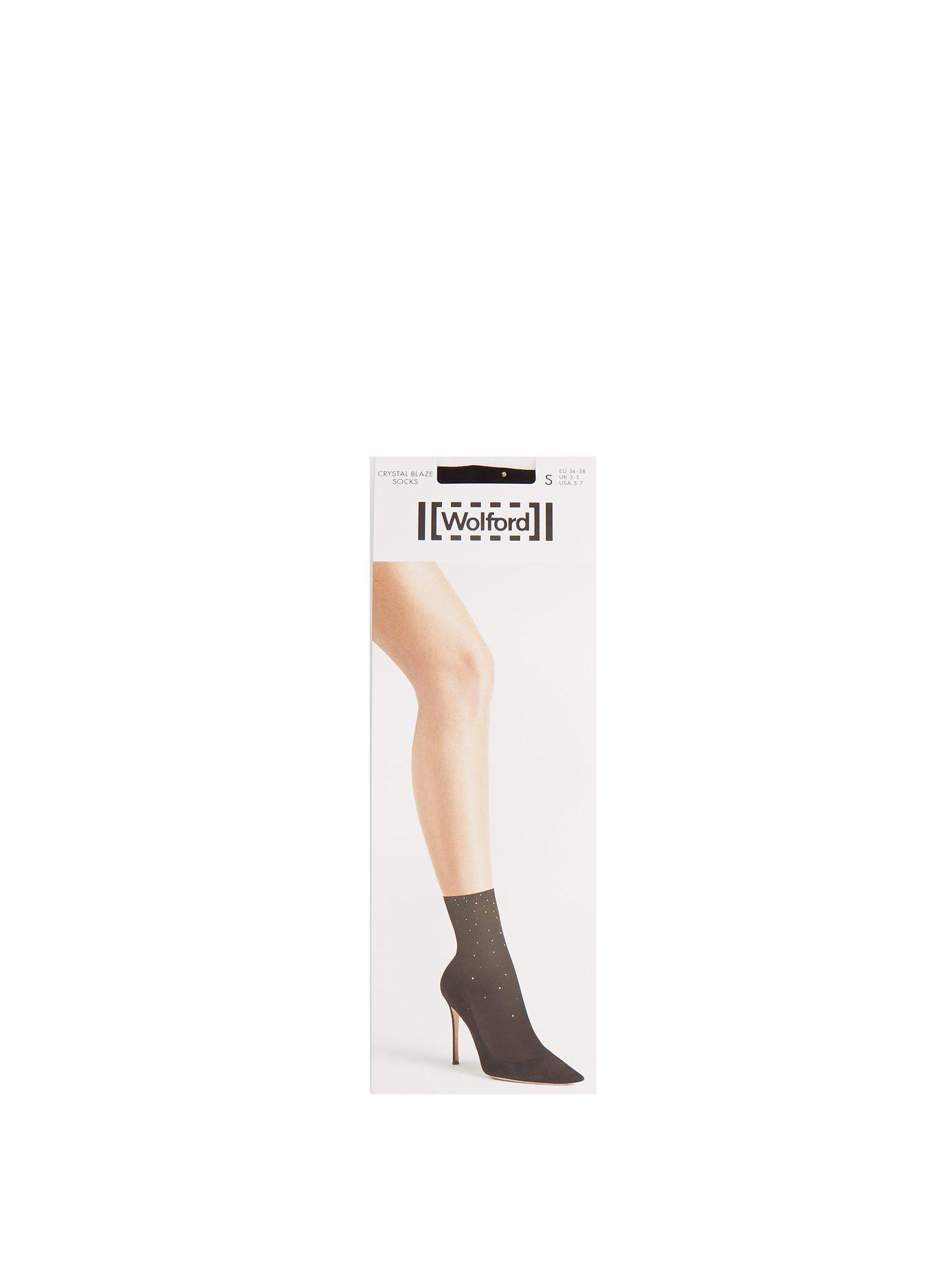 96fce8bcf Wolford Crystal Blaze Ankle Socks in Black - Lyst
