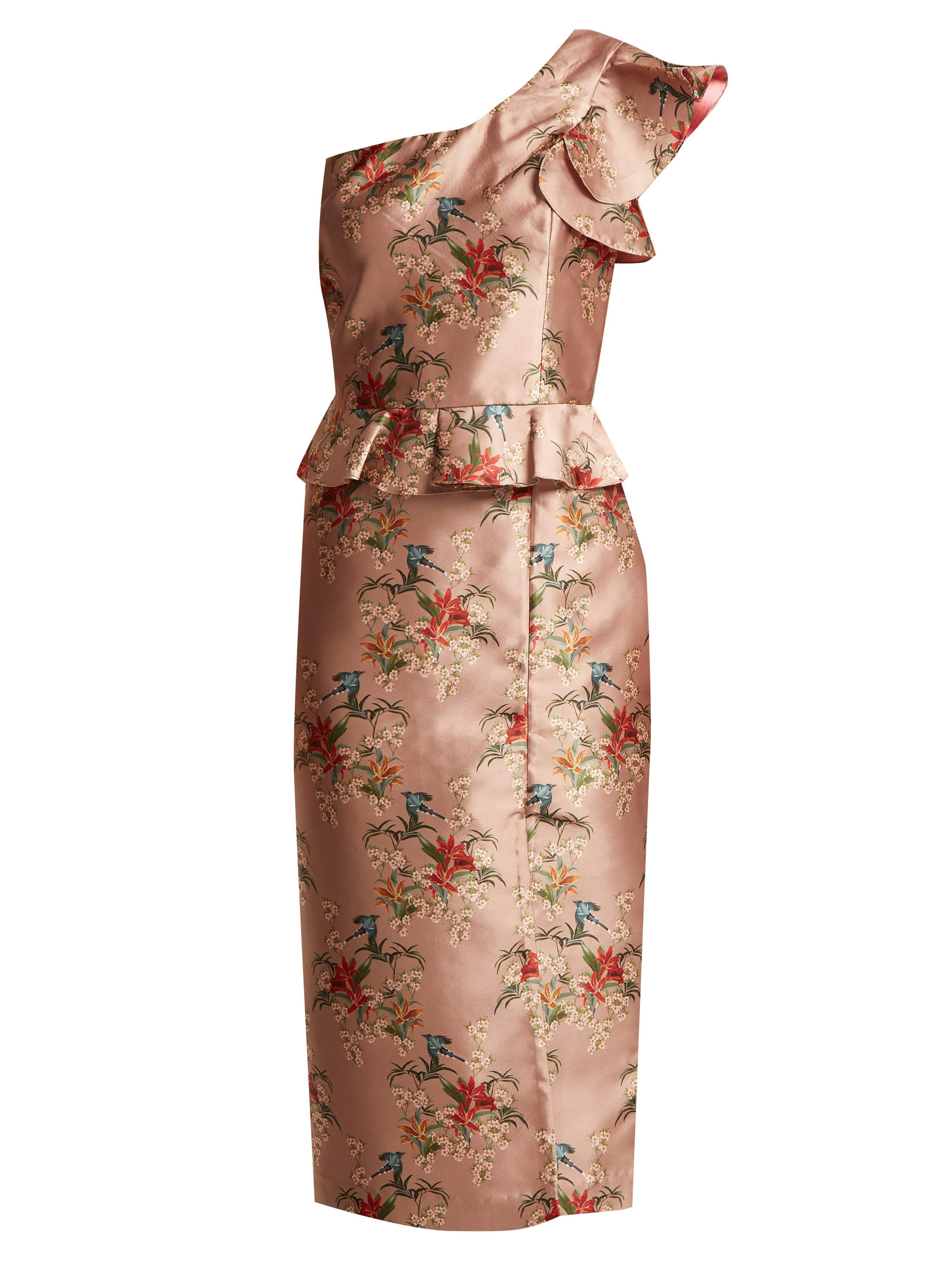 2a229d55a8ef4 Johanna Ortiz La Divinidad Asymmetric Satin Dress in Pink - Lyst