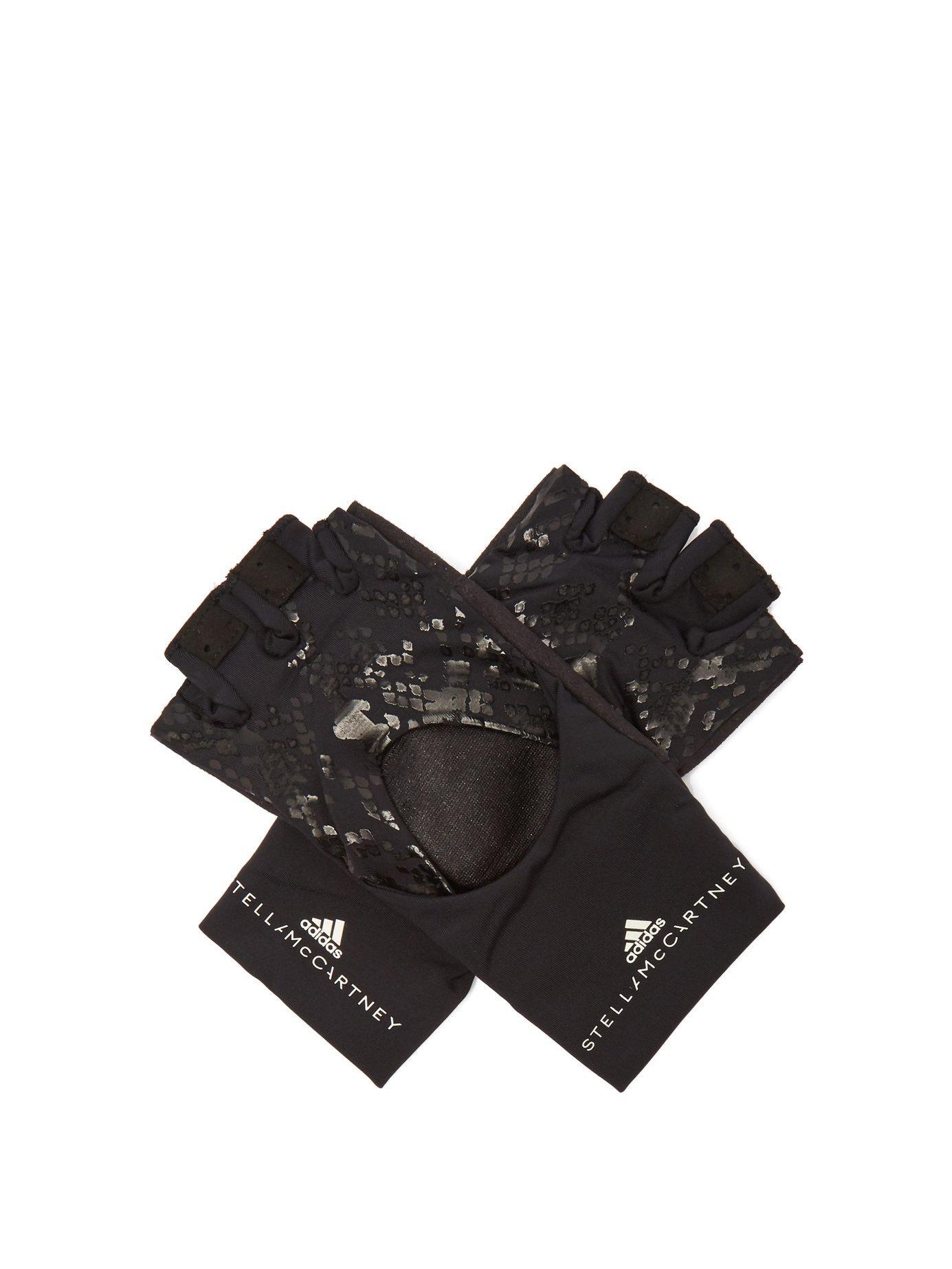 06ab3ec61 adidas By Stella McCartney. Women's Black Logo Print Fingerless Training  Gloves