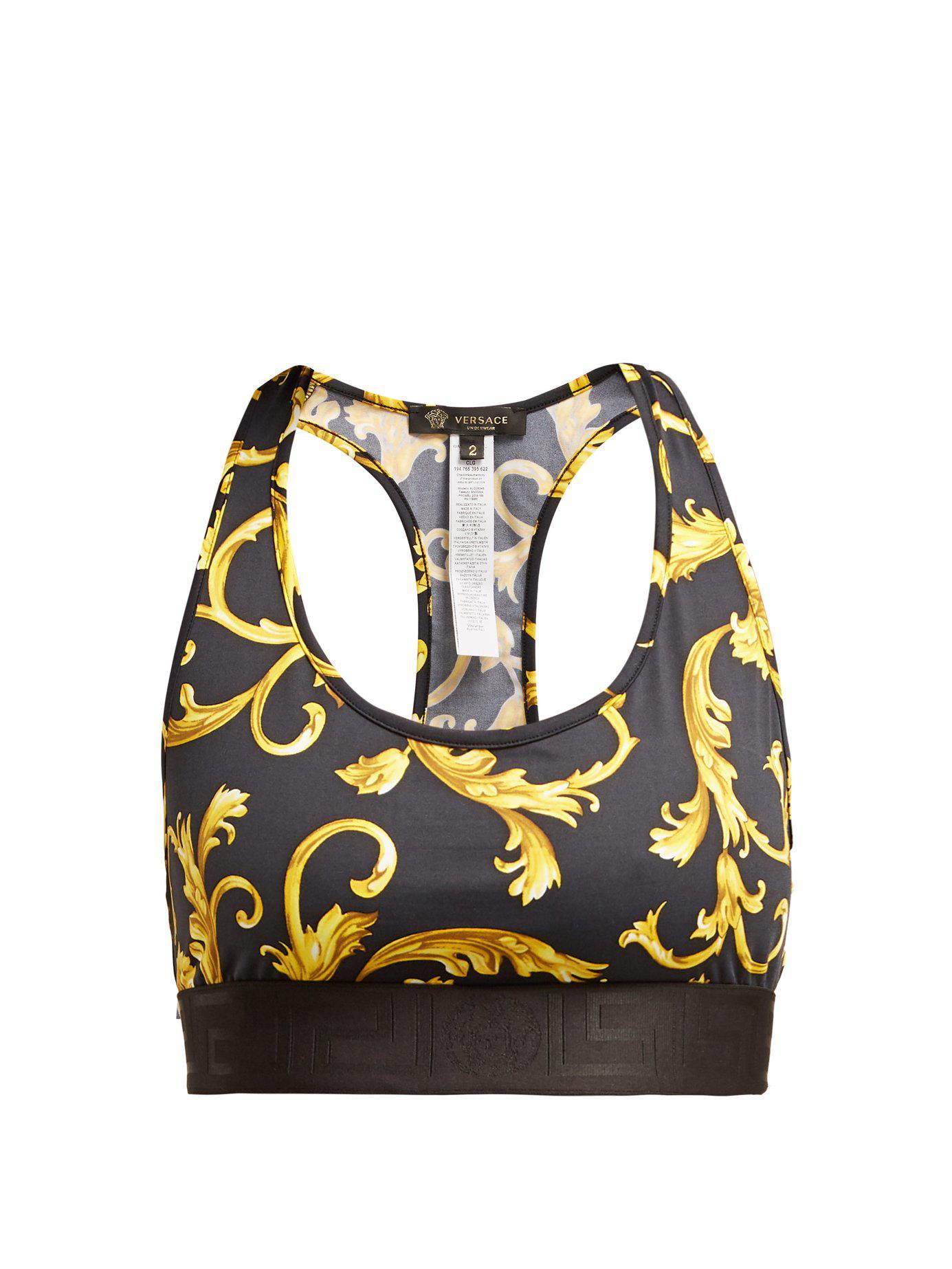 ca6b631d77896 Browse stores. Versace - Black Baroque-print Racer-back Sports Bra - Lyst.  View fullscreen