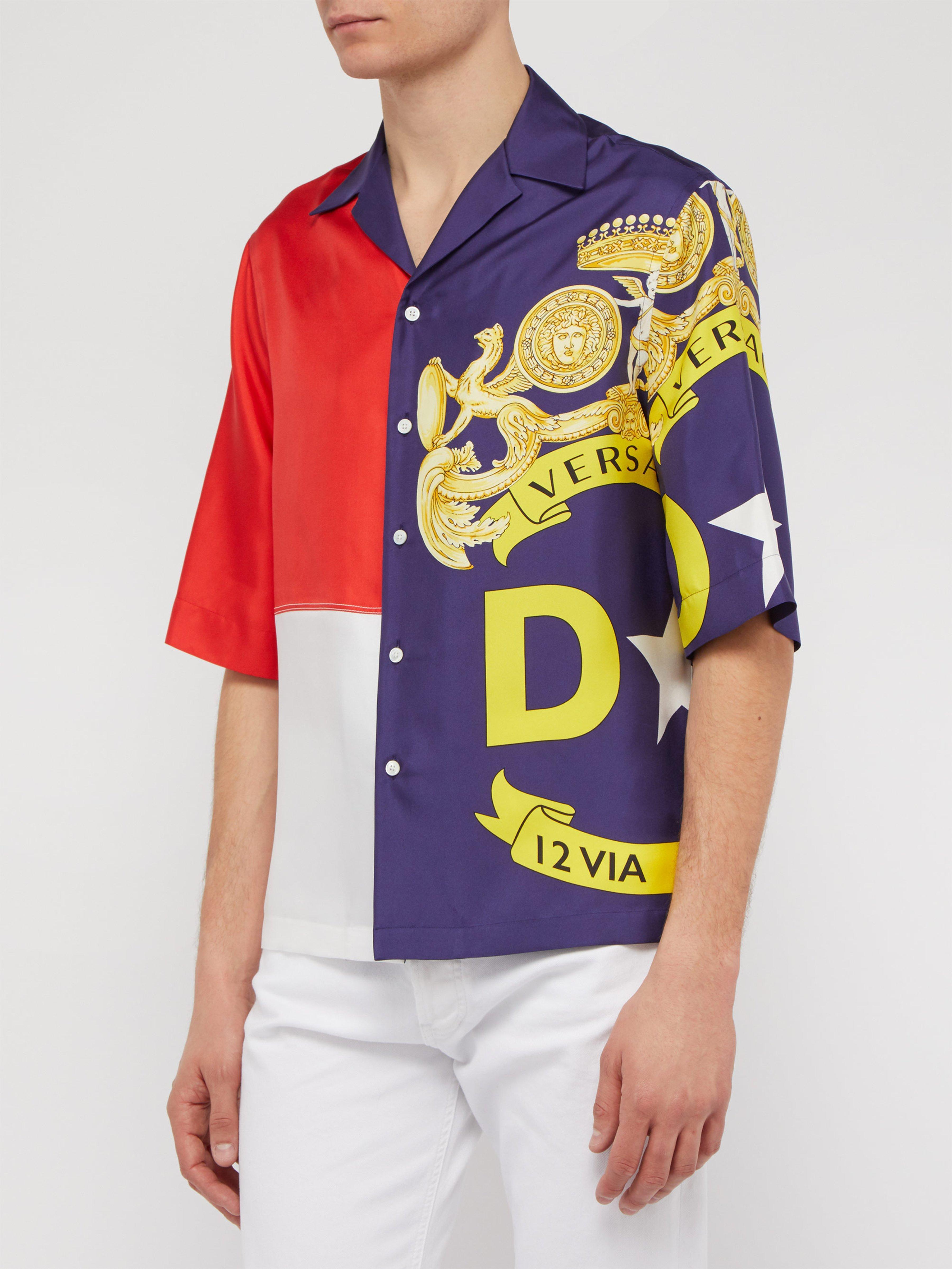 38a3e09c Versace - Multicolor Panelled Logo Print Short Sleeved Silk Shirt for Men -  Lyst. View fullscreen
