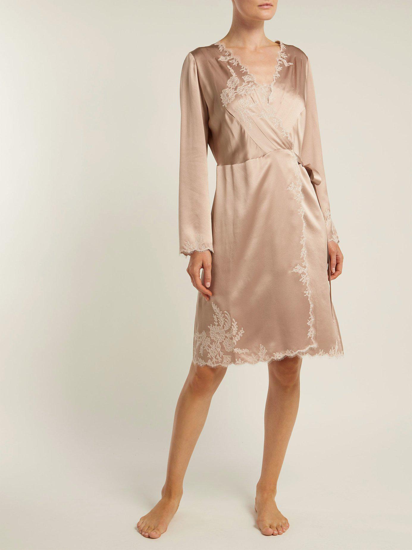 Carine Gilson - Pink Lace Trimmed Silk Satin Robe - Lyst. View fullscreen bba673023