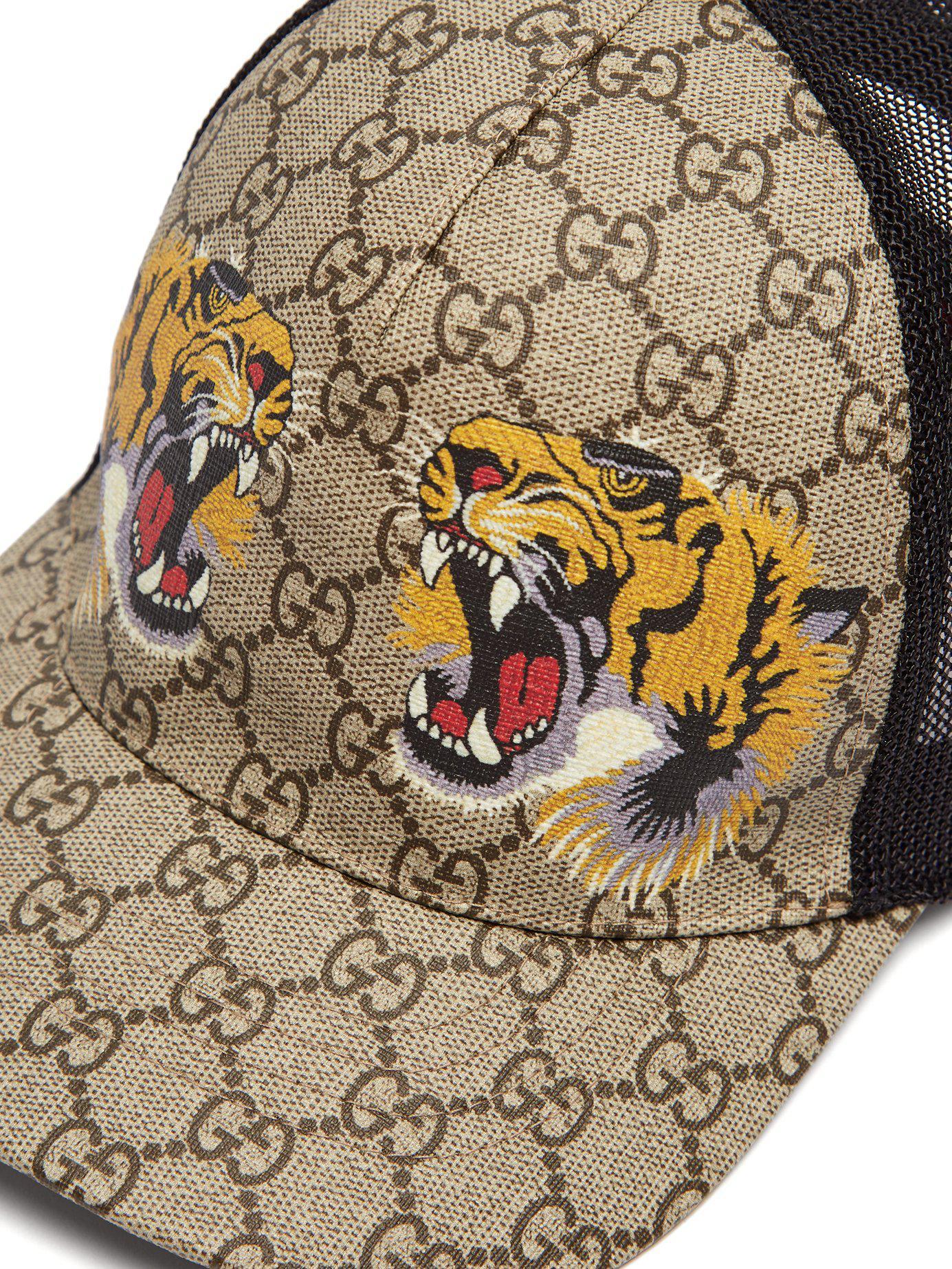 da7b9d58e16 Lyst - Gucci Gg Supreme And Tiger Print Mesh Cap in Natural for Men