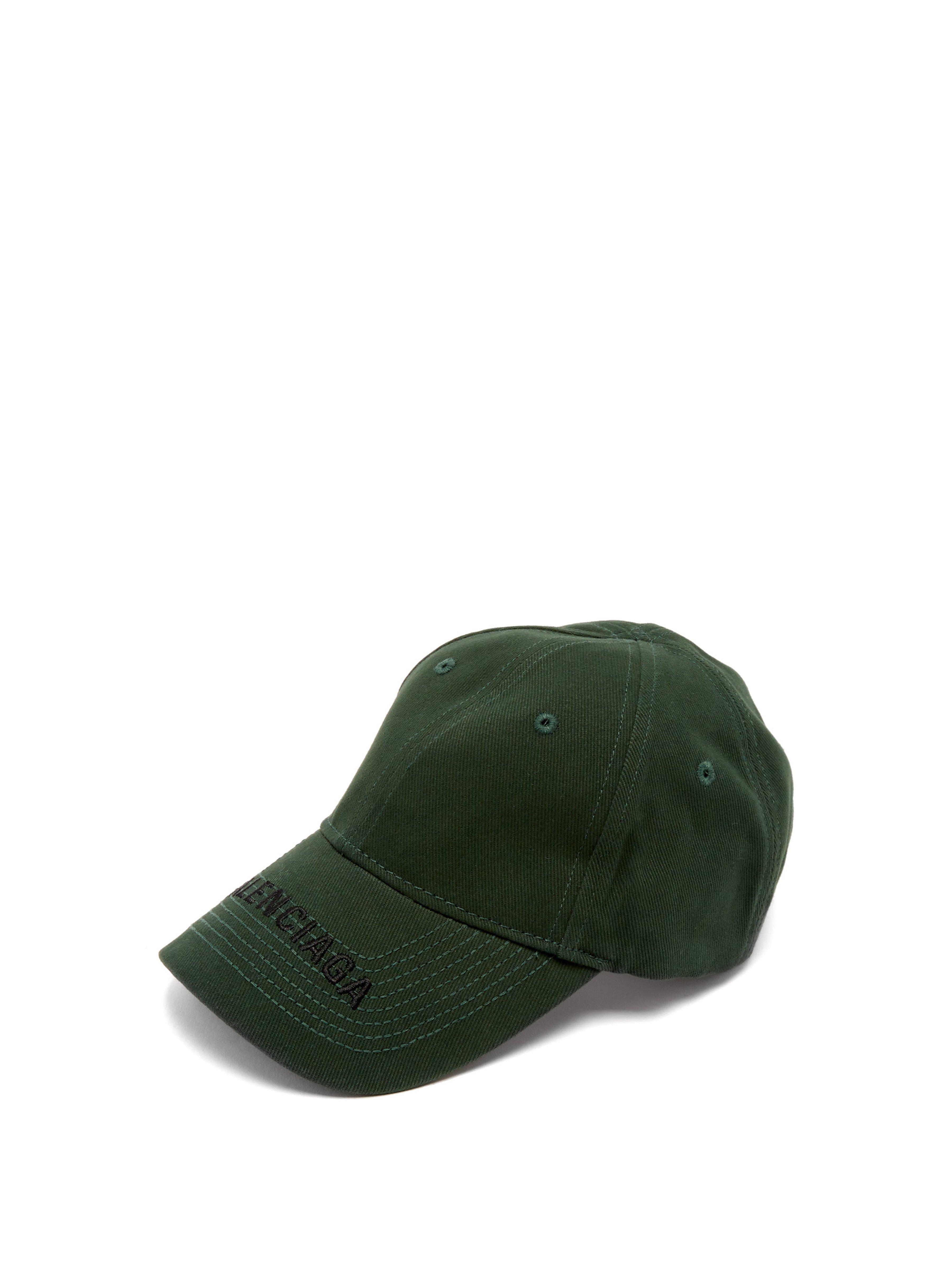 dbd2a5ad2198d6 Balenciaga Logo Embroidered Cotton Cap in Green - Lyst