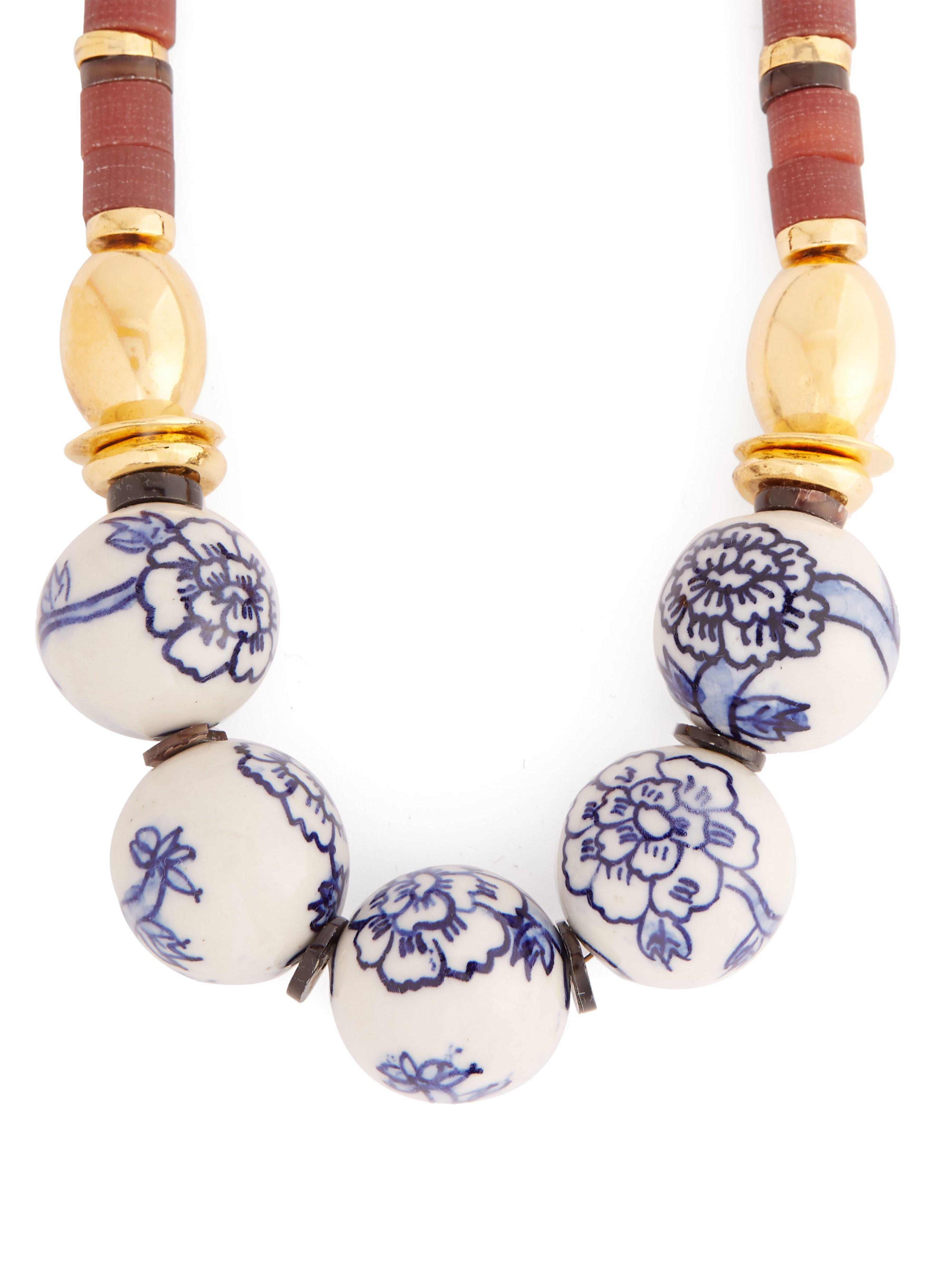 Lizzie Fortunato Silk New Blue Iii Large Beaded Necklace