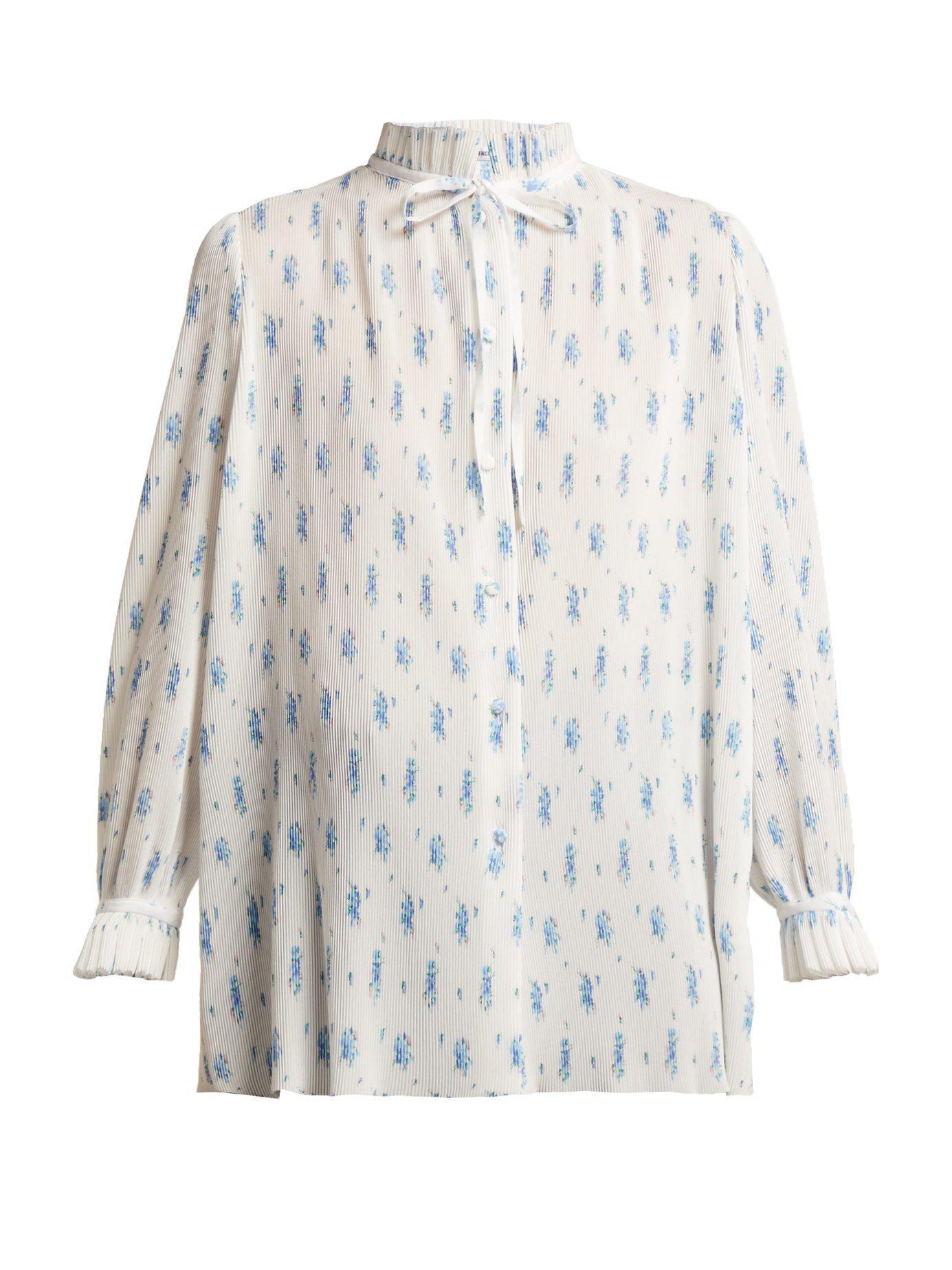 320a24c817ca Lyst - Balenciaga Ruffled Tie Neck Floral Print Plissé Blouse in White