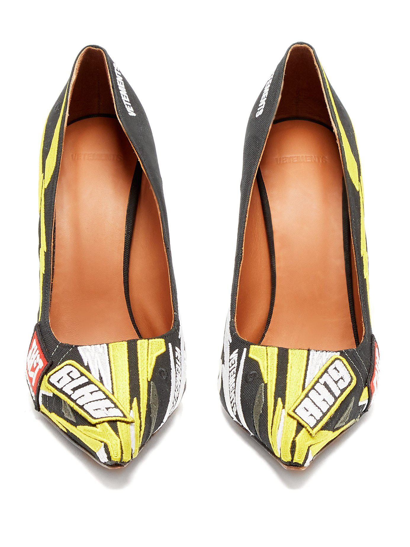 59d620ee29d1 Vetements - Multicolor Racer Embroidered Point Toe Pumps - Lyst. View  fullscreen