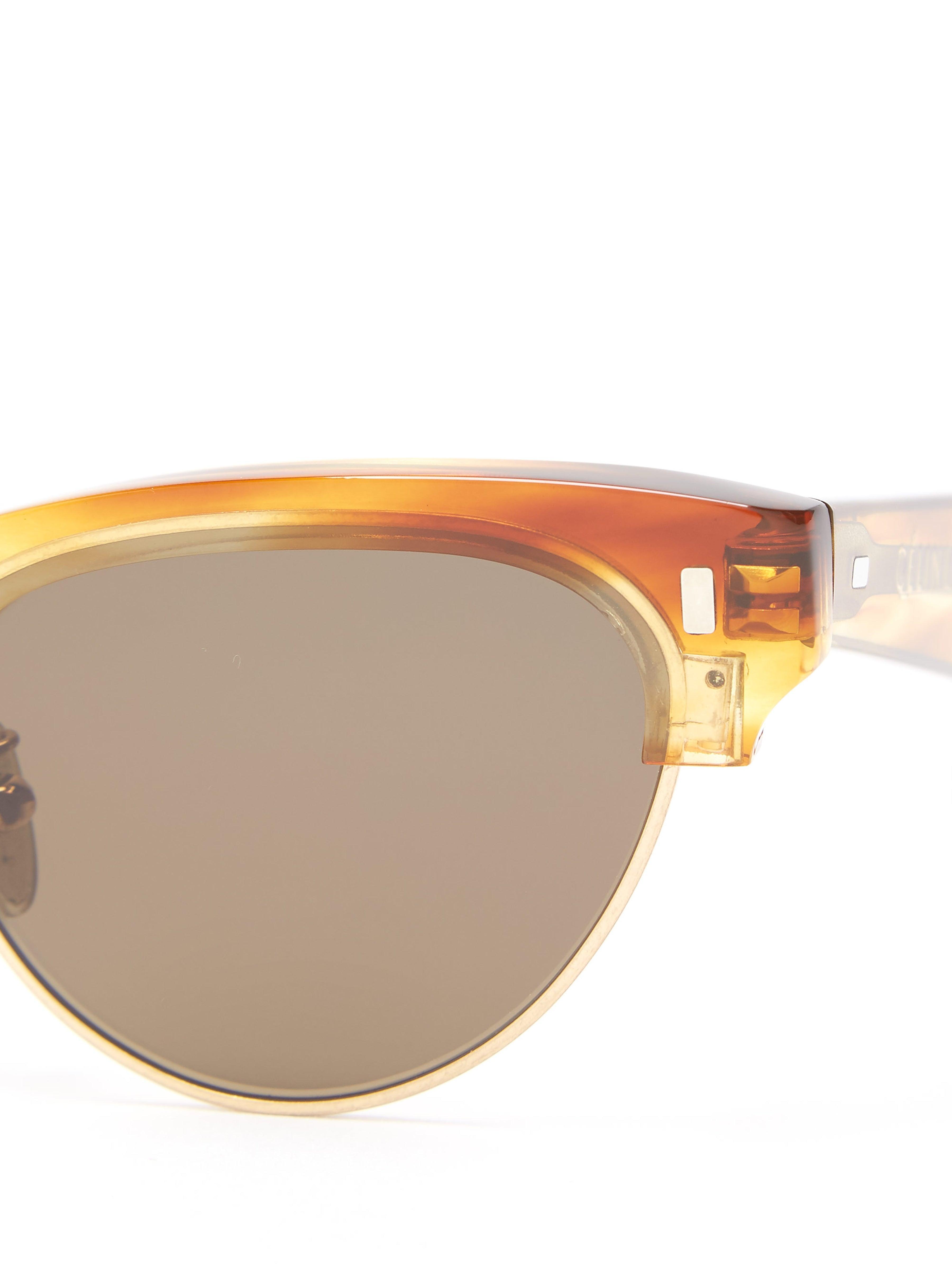 Celine Leather Round Tortoiseshell-acetate Sunglasses