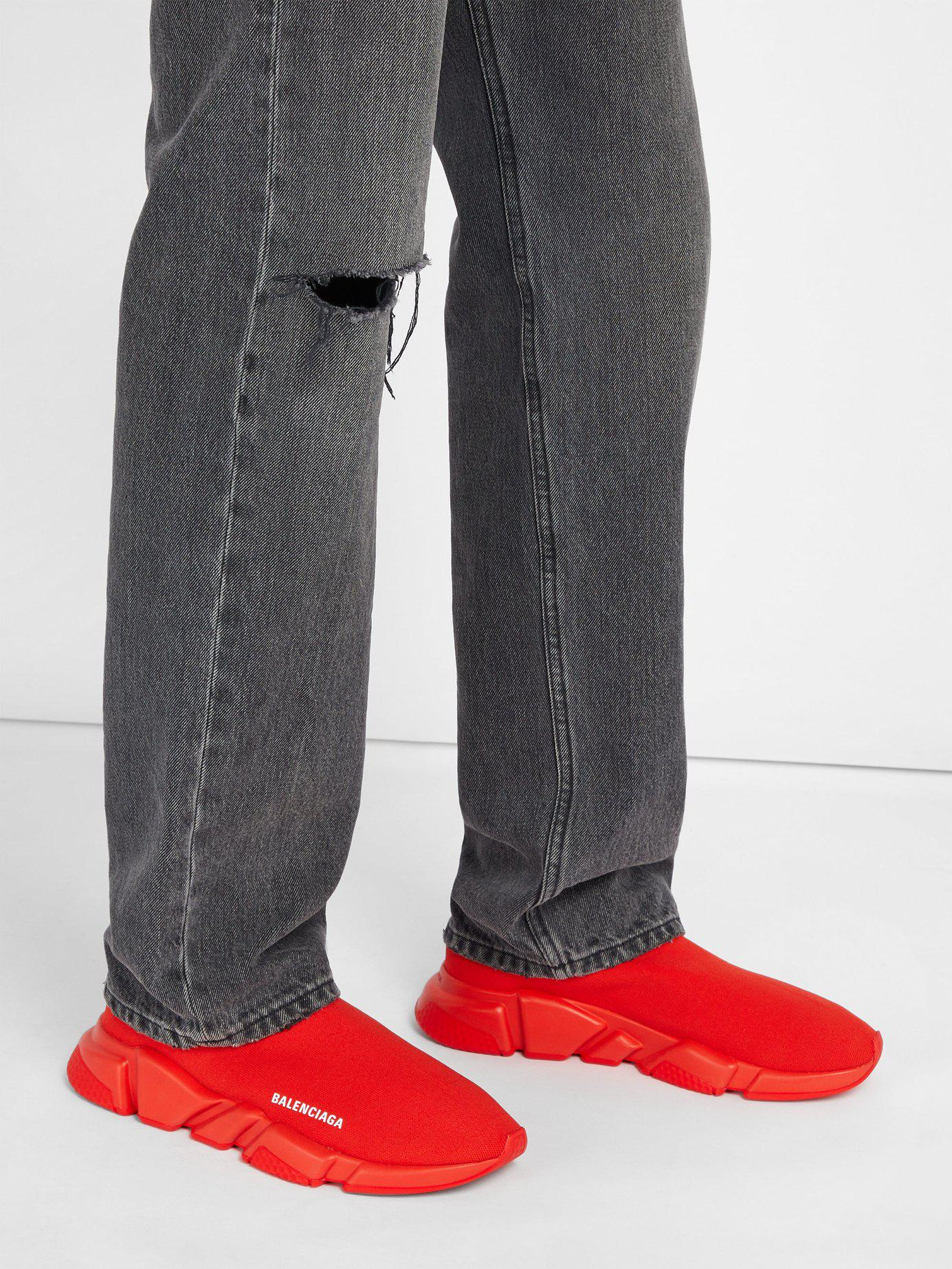 c83da2a0b8505 Lyst - Balenciaga Speed Sock Trainers in Red for Men - Save 20%