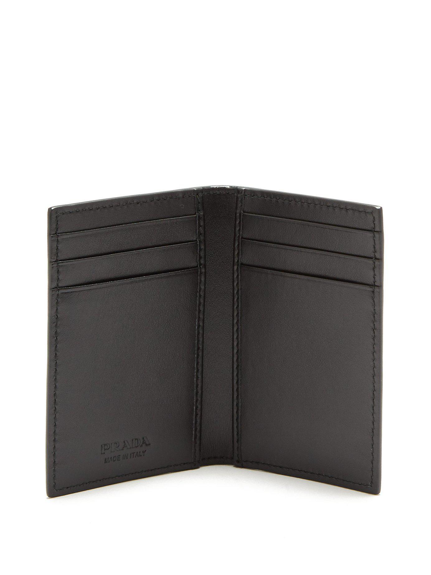 66390df21ab9 Lyst - Prada Logo Print Bi Fold Cardholder in Black for Men