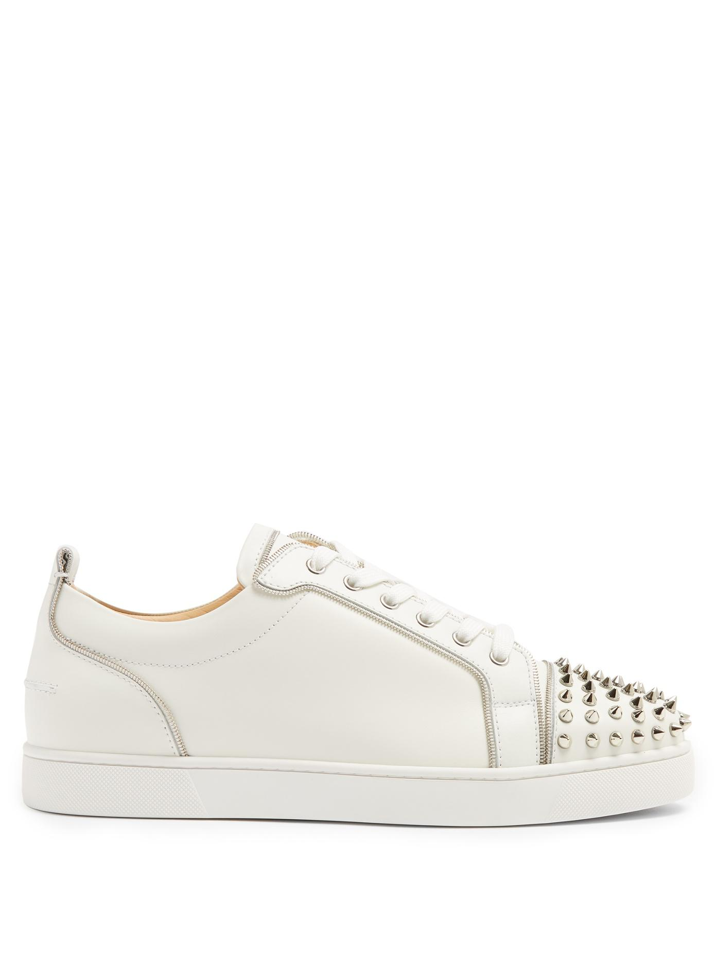 on sale ec2b6 63723 Men's White Junior Zip Spike-embellished Low-top Sneakers