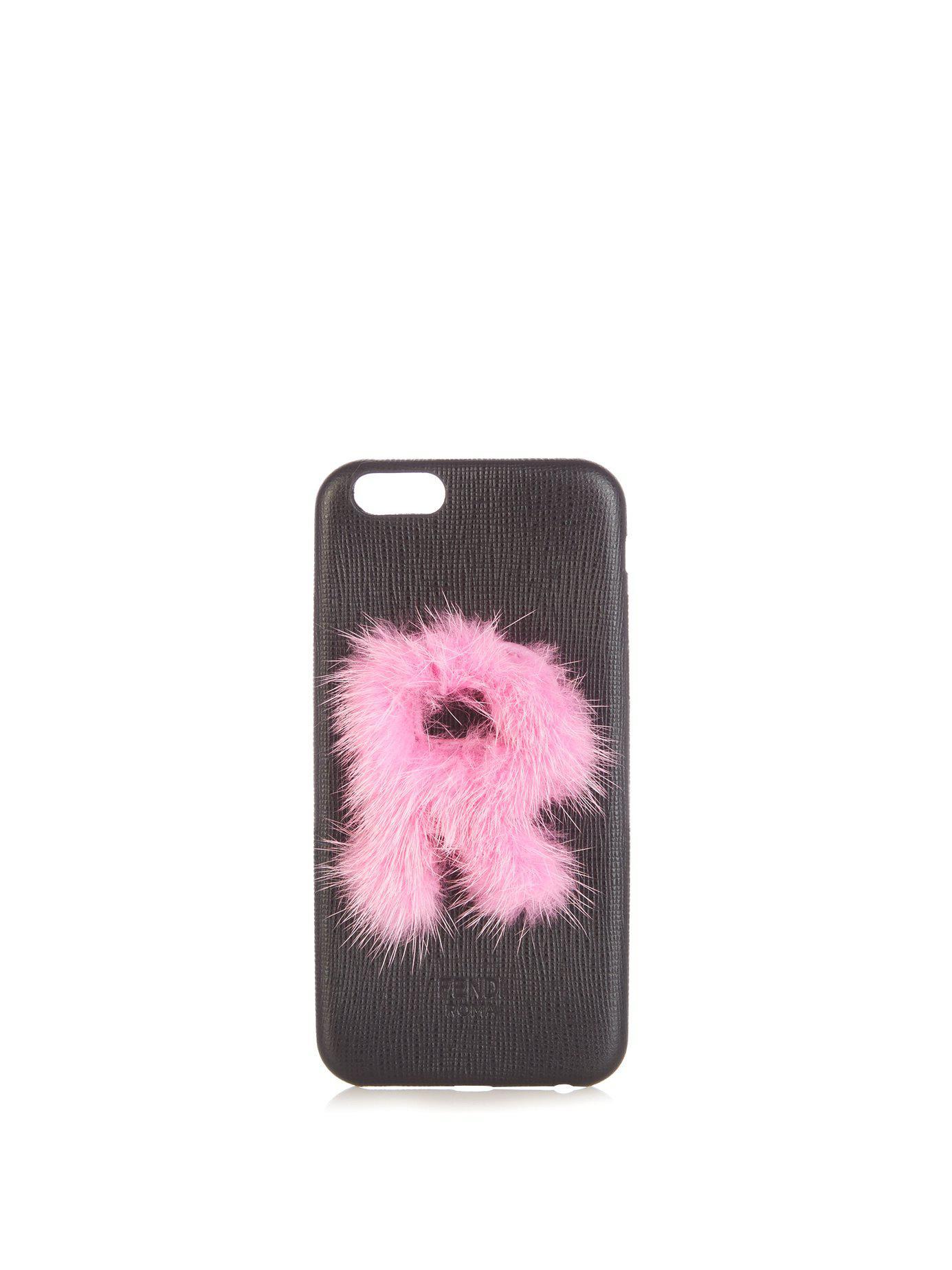 60cbbfb32e92 Lyst - Fendi Leather Iphone® 6 Case in Black