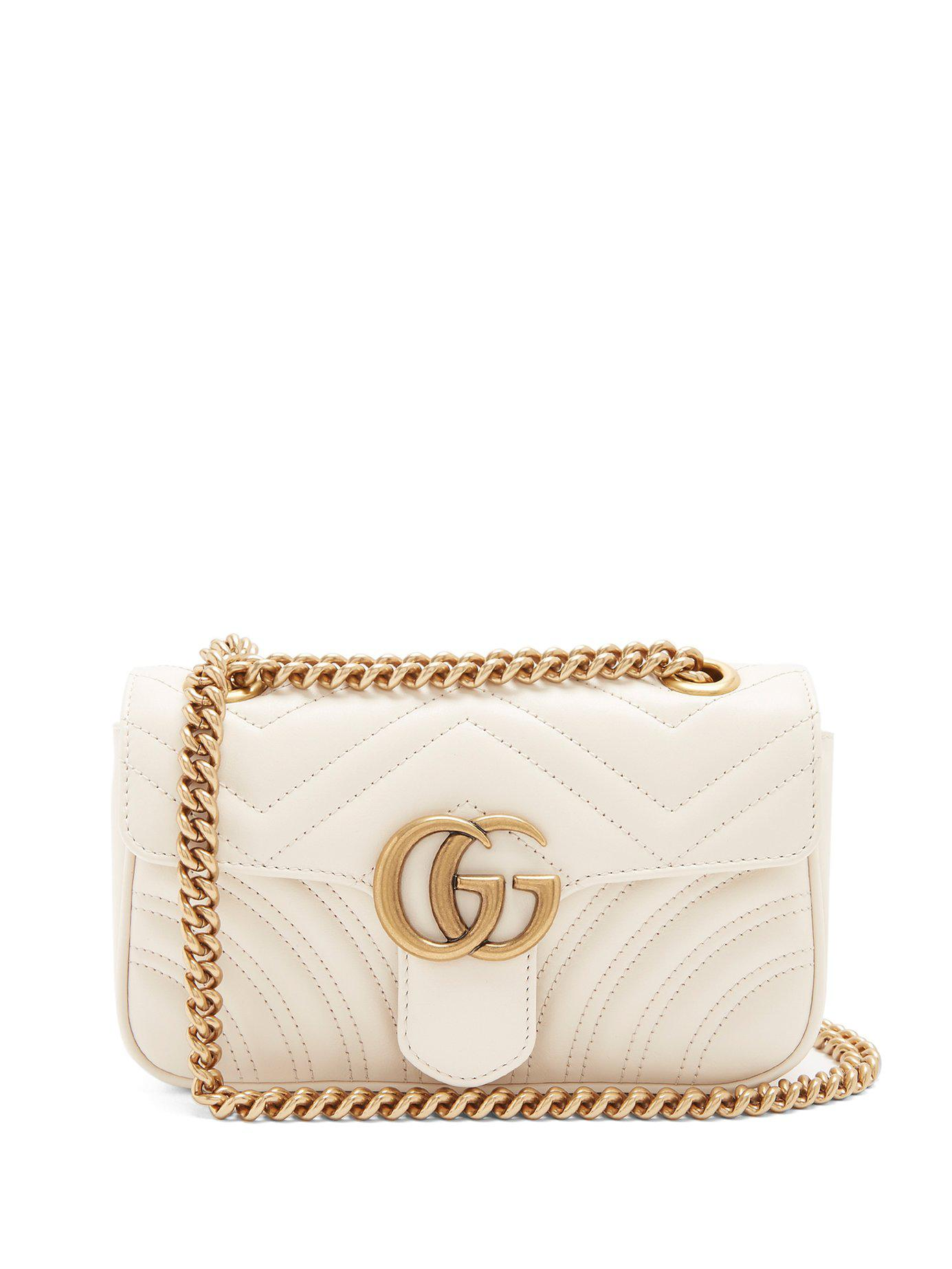 fc86de39b406 Gucci Gg Marmont Mini Quilted Leather Cross Body Bag in White - Save ...