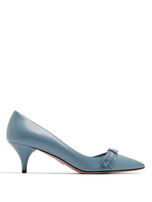 1e5369af56c Lyst - Prada Logo Bow-embellished Kitten-heel Leather Pumps in Blue