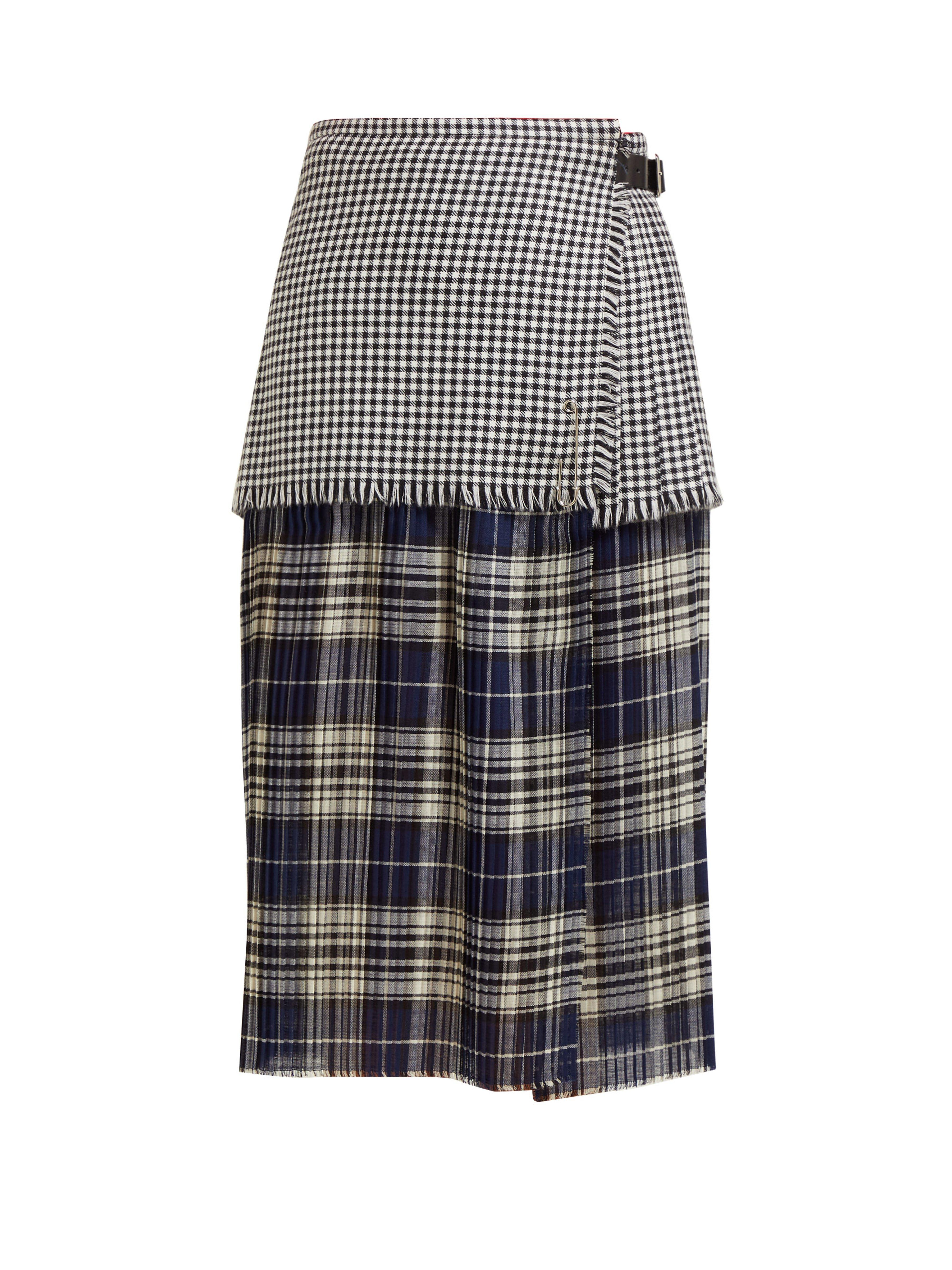 18bf6d45c30cdc Le Kilt Mia 72cm Houndstooth And Tartan Pleated Wool Skirt in Gray ...