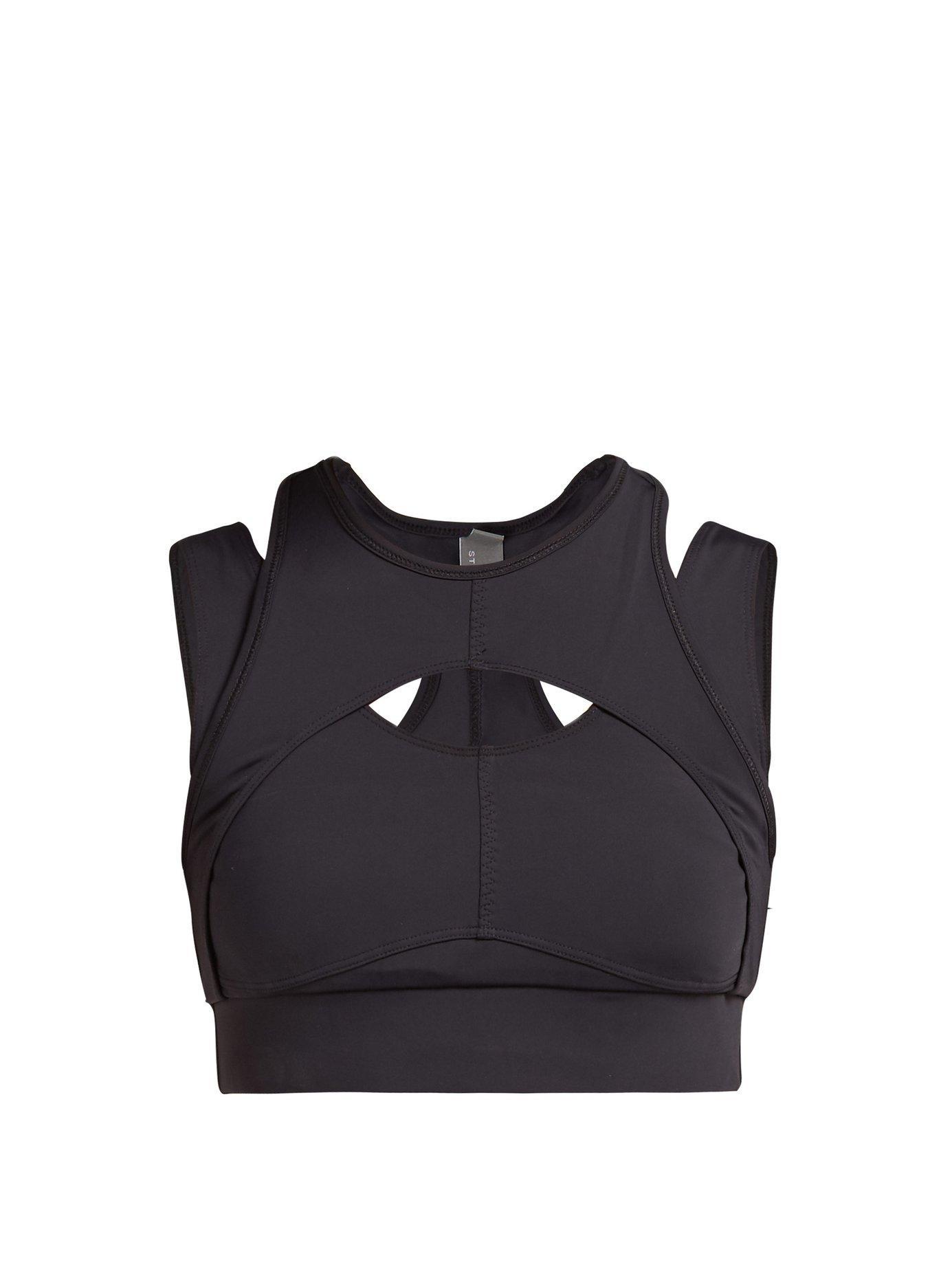 90baee4713 Lyst - adidas By Stella McCartney Triathlon Crop Top in Black