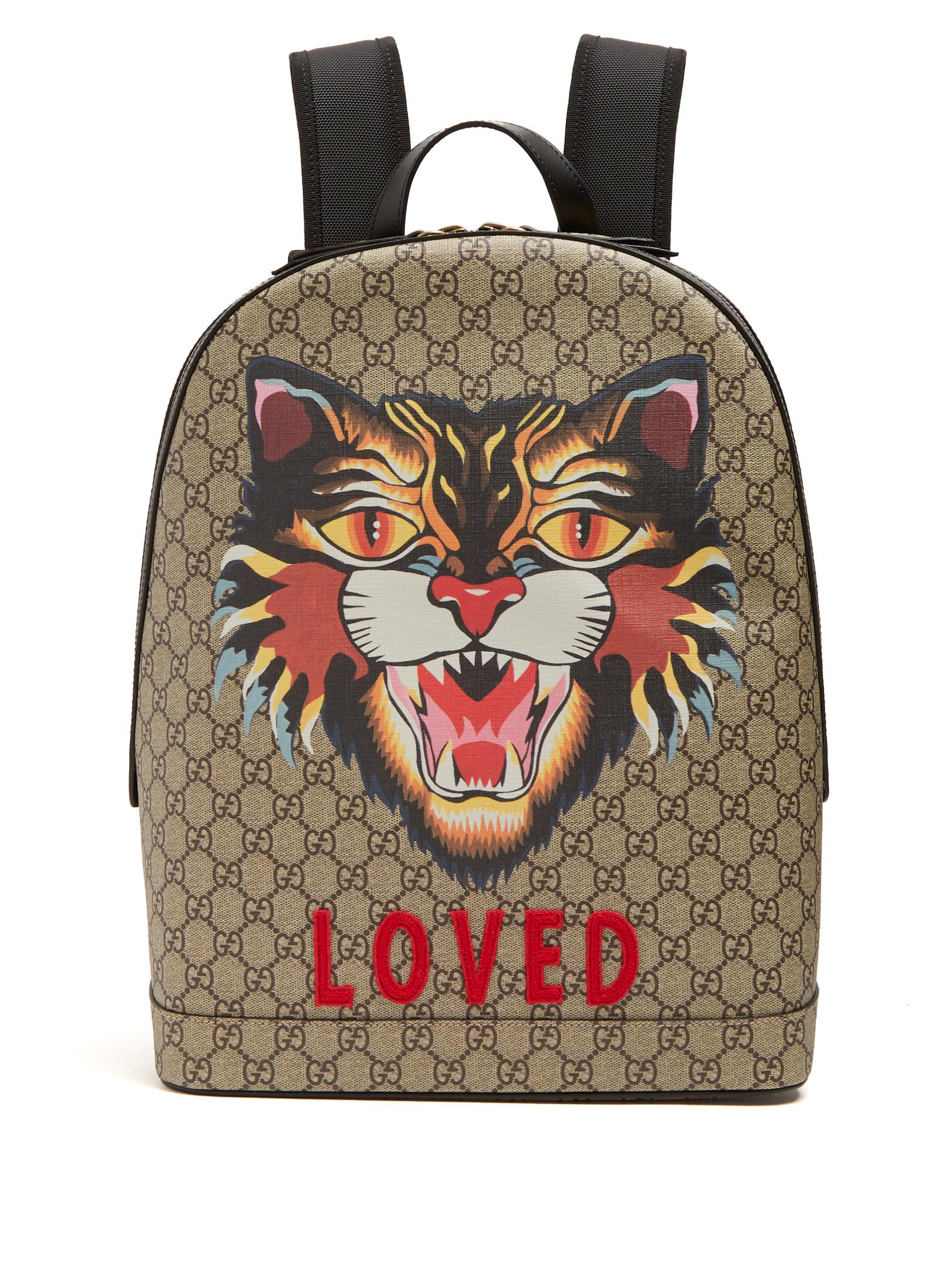 6ac4065184a Gucci Angry Cat-print Gg Supreme Backpack in Brown for Men - Lyst