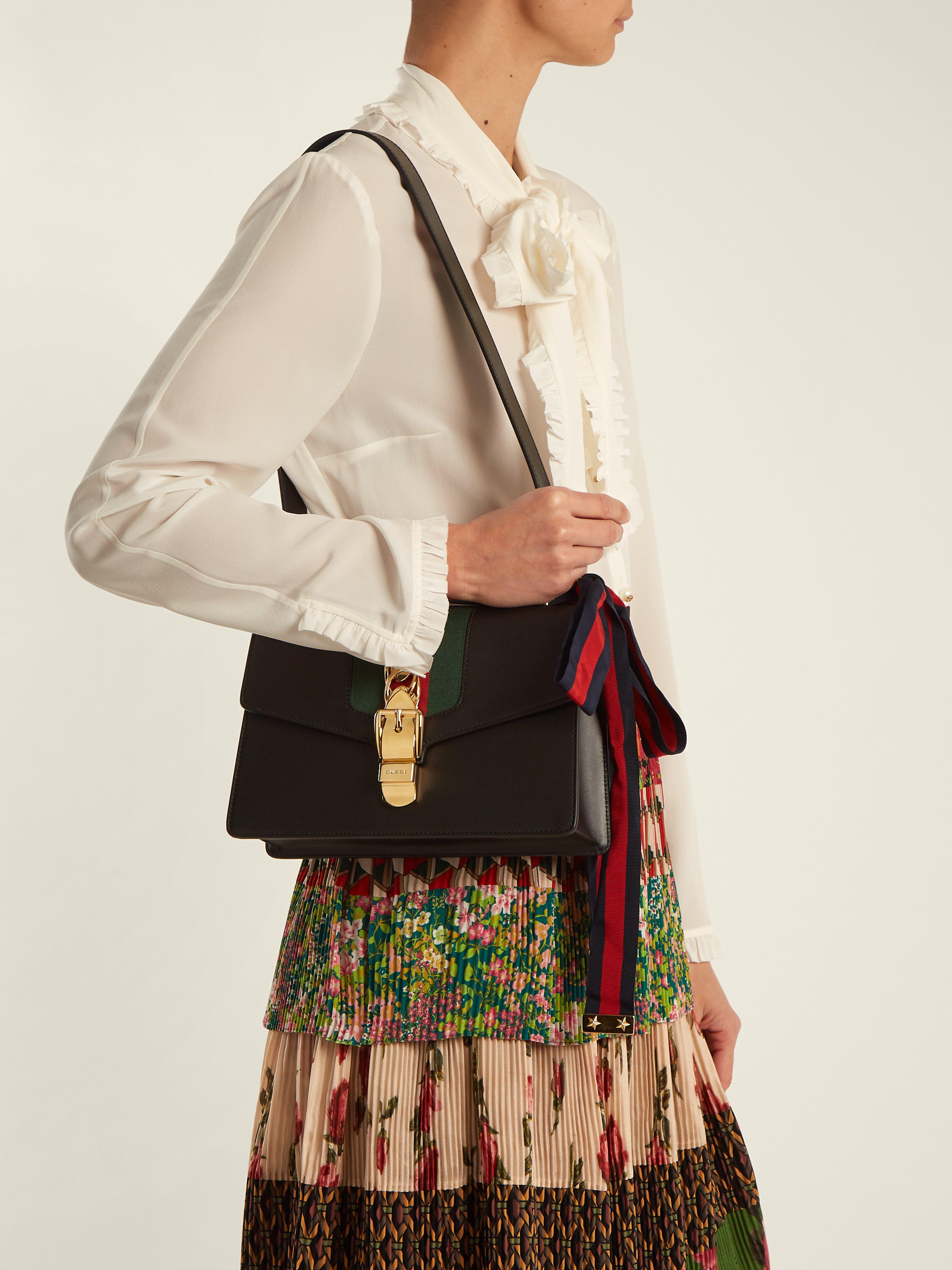 2262efb028f Gucci Sylvie Leather Shoulder Bag in Black - Save 23% - Lyst