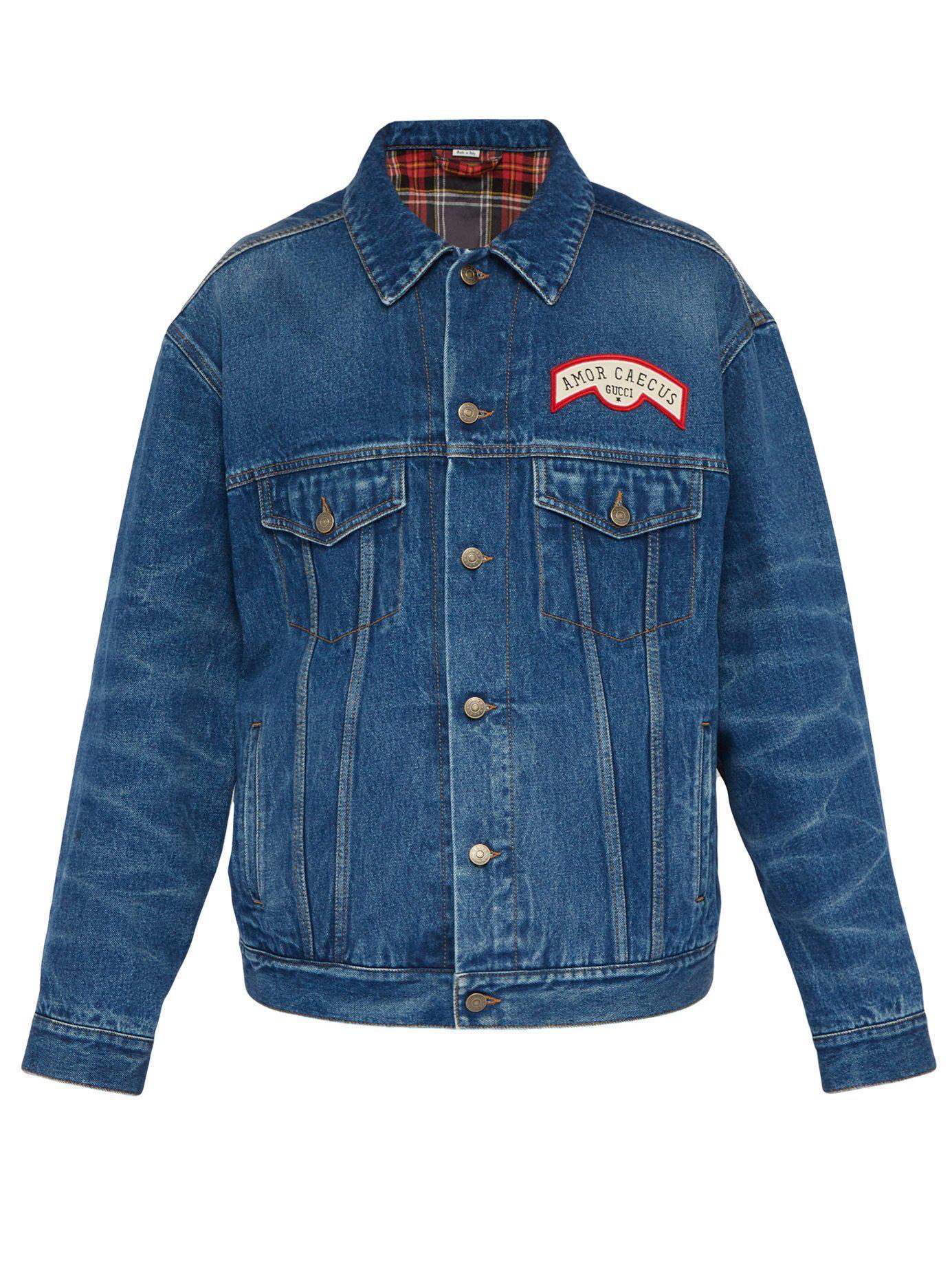 f636e8d4394 Gucci - Blue Oversized Appliquéd Denim Jacket for Men - Lyst. View  fullscreen