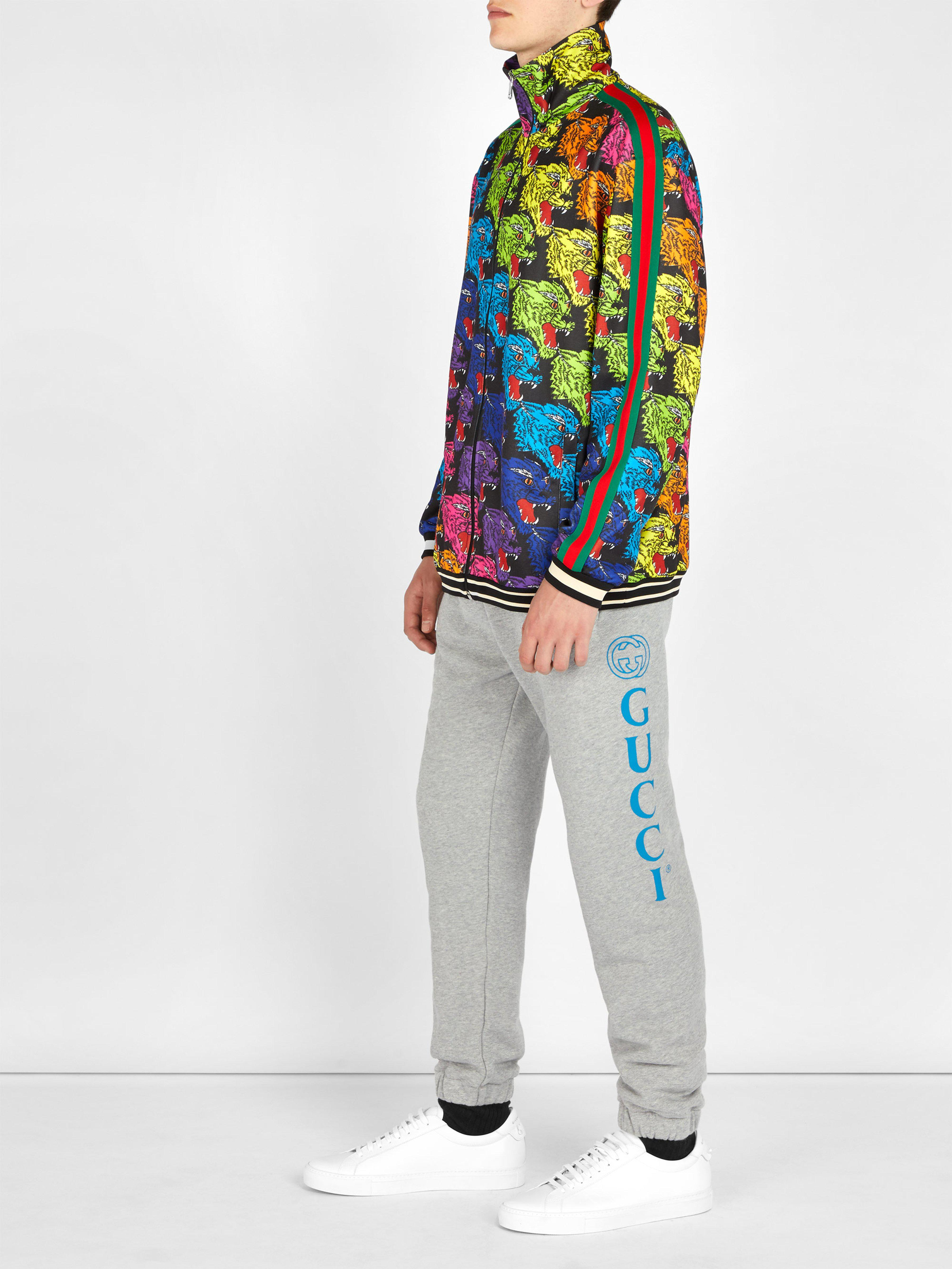 8ccce97edd8 Gucci Angry Tiger Printed Track Top for Men - Lyst
