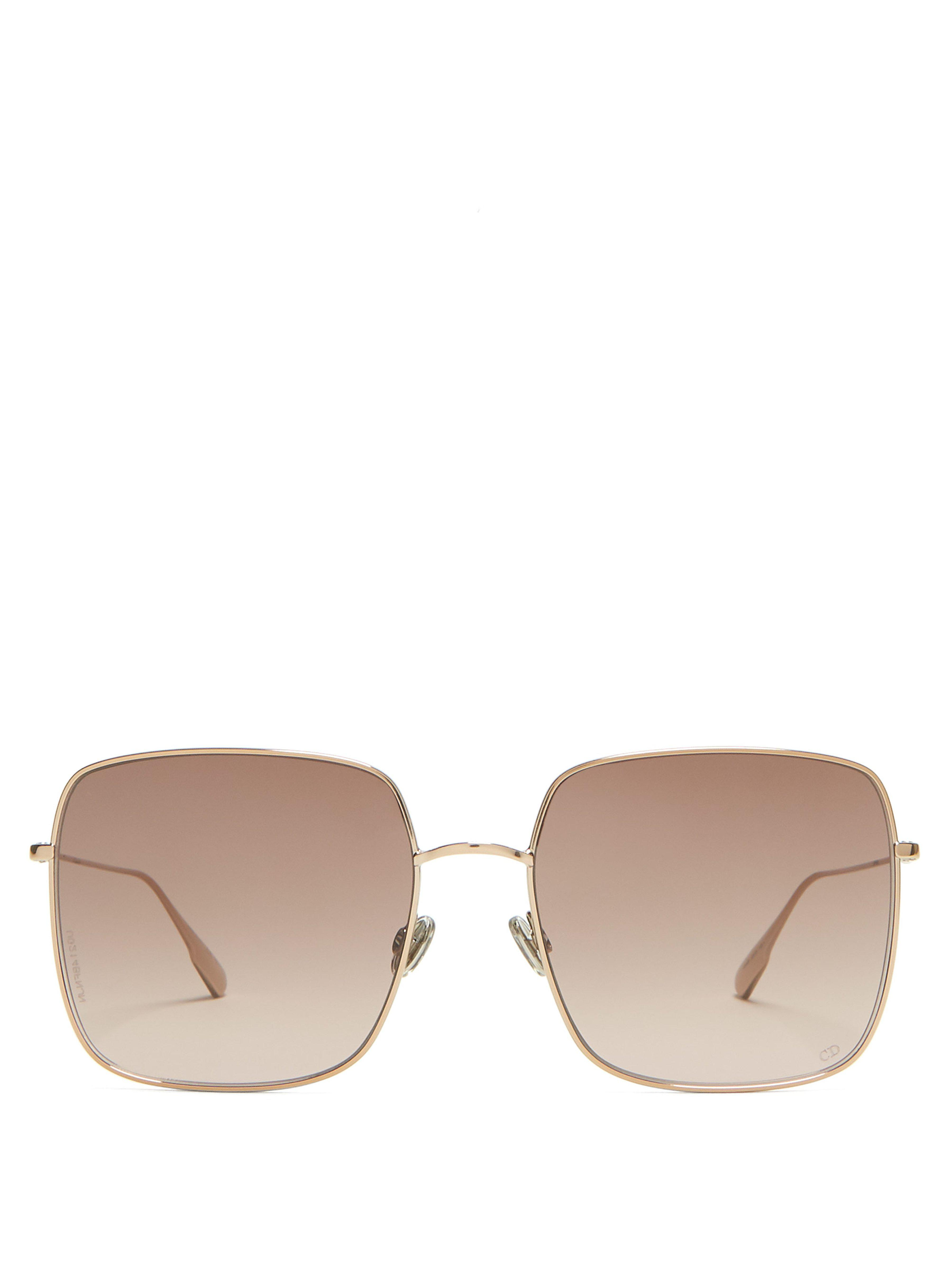 fc3750db03 Dior Stellaire1 Square Metal Sunglasses in Brown - Lyst