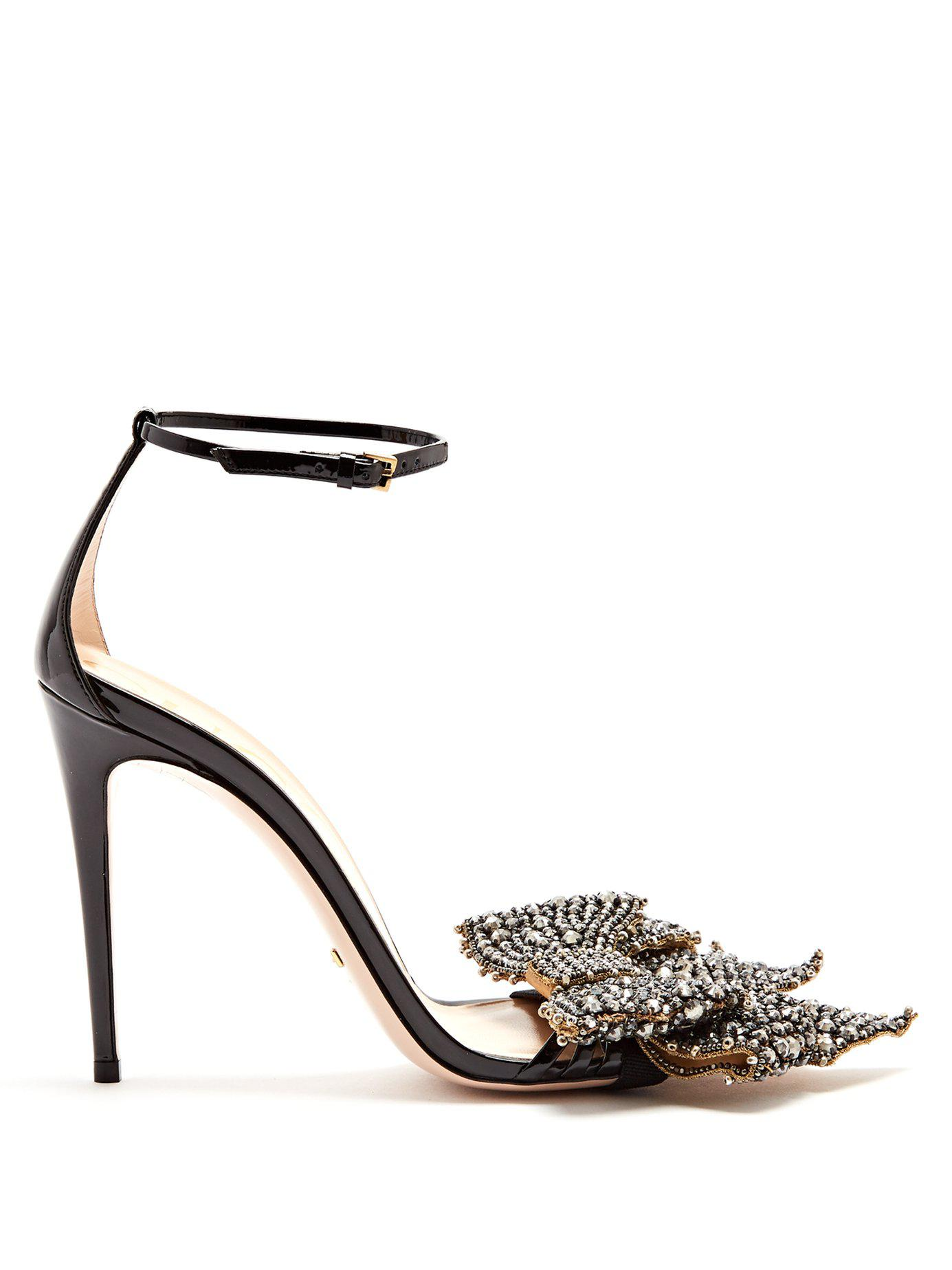 1e336a2a3f98d Gucci Crystal-embellished Detachable-bow Leather Sandals in Black - Lyst