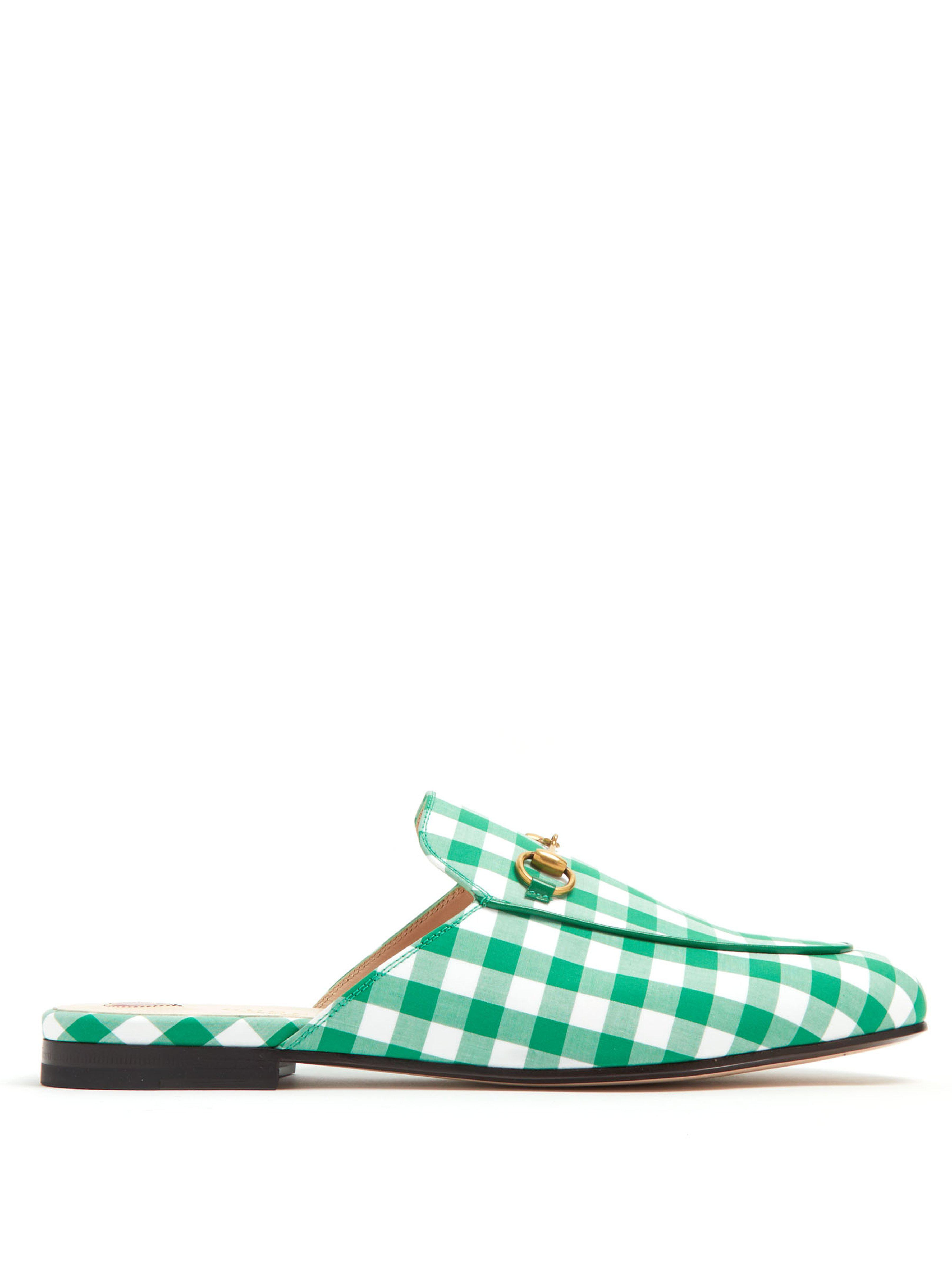 0c42ed7e9af Gucci Princetown Gingham Backless Loafers in Green - Lyst