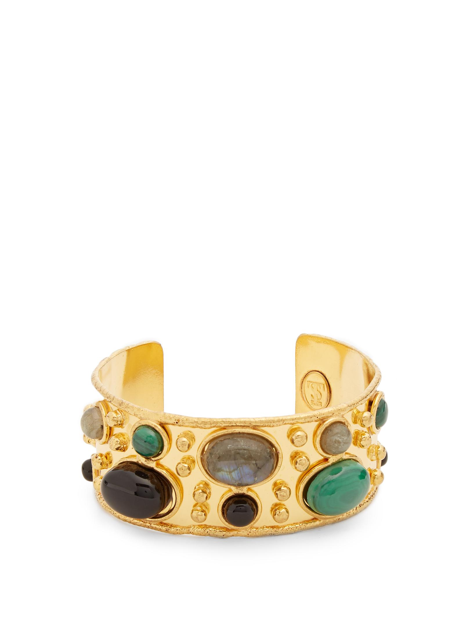 Wonder Byzance Cuff Bracelet in Gold-Plated Brass with Multi-Stones Sylvia Toledano 99TSNRV