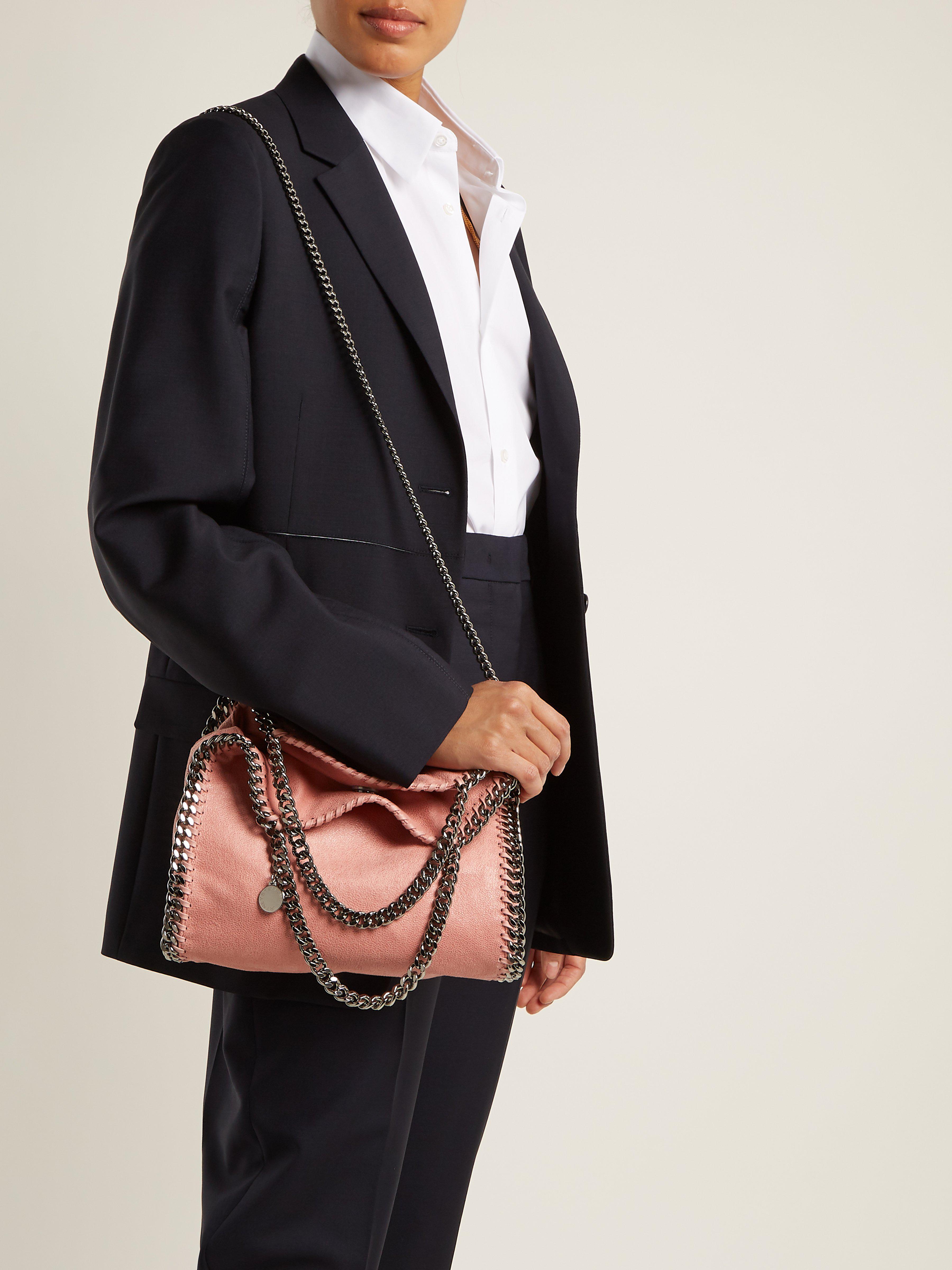 Stella McCartney Falabella Mini Faux Suede Cross Body Bag in Pink - Save 2%  - Lyst 47e445076c330