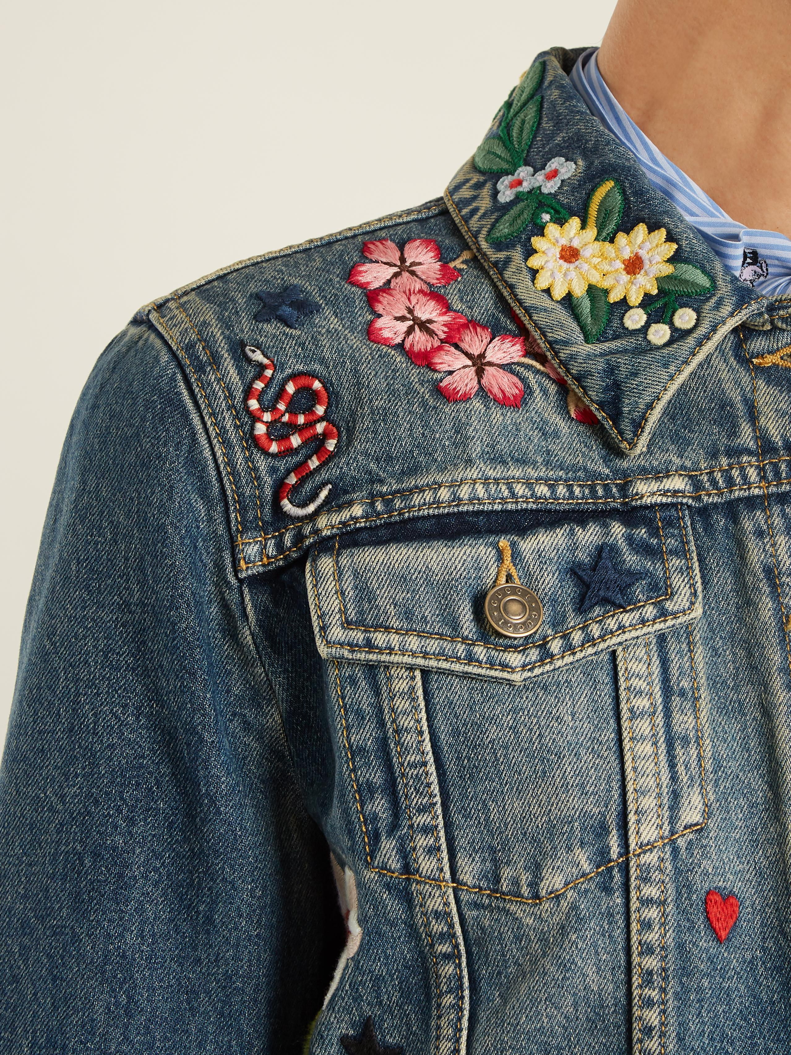 2a7faa9fb4a5f Lyst - Gucci Floral-embroidered Denim Jacket in Blue