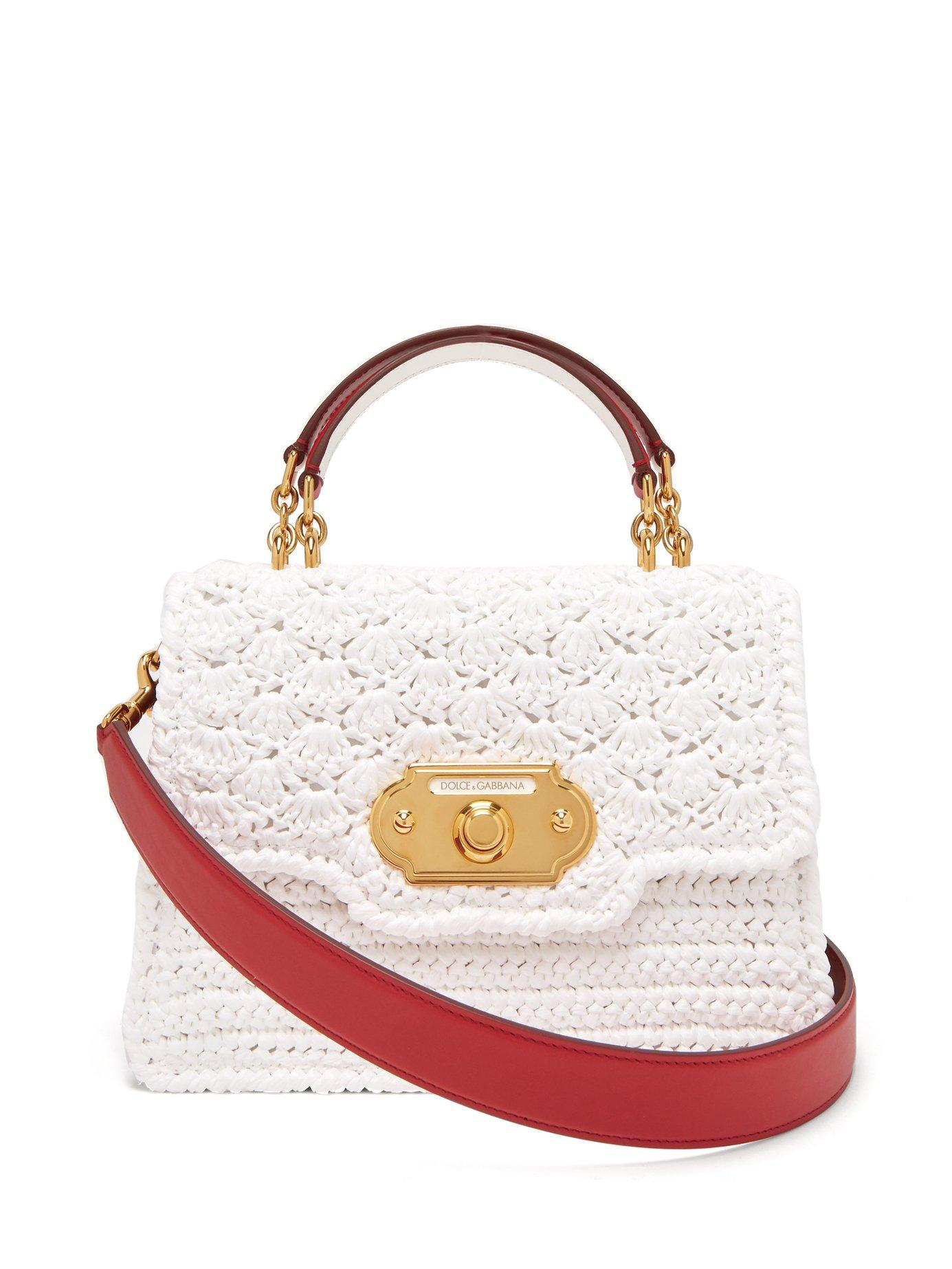 99fd897502ac Lyst - Dolce   Gabbana Welcome Crochet And Leather Bag in White