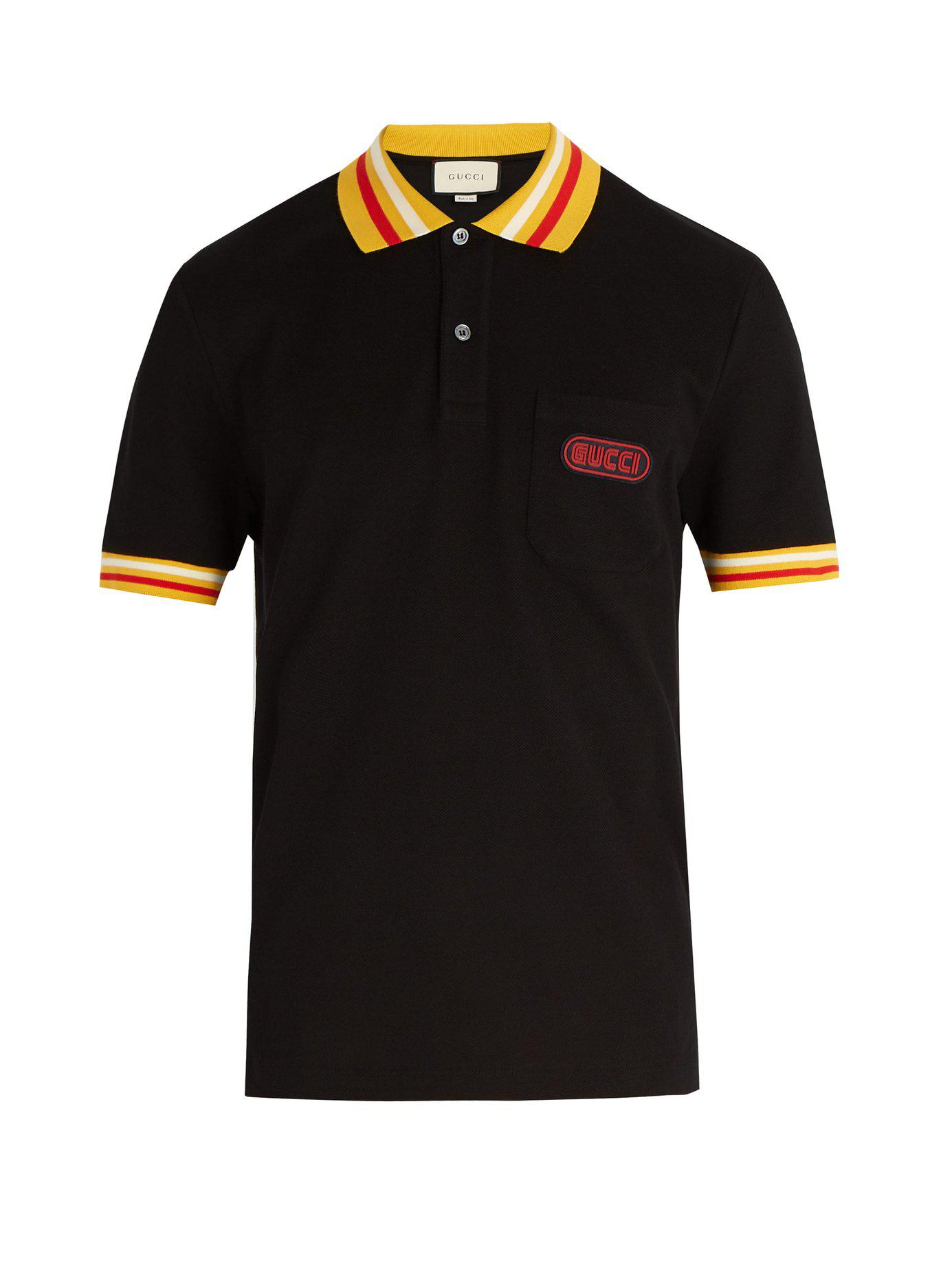 3a602cc6fd8e Lyst - Gucci Men s Pique-knit Polo Shirt With Contrast Color in ...