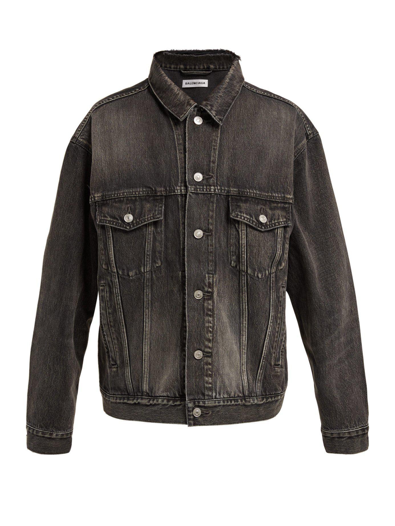 b28b9cf09cbd5e Balenciaga - Black Logo Printed Oversized Denim Jacket - Lyst. View  fullscreen