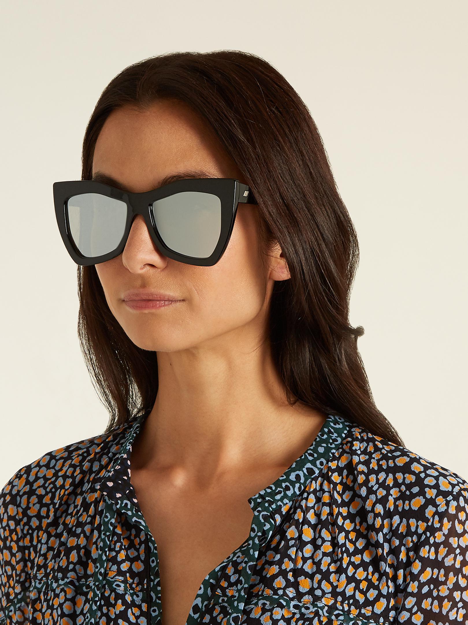 Le Specs Kick It Oversized Mirrored Sunglasses in Black