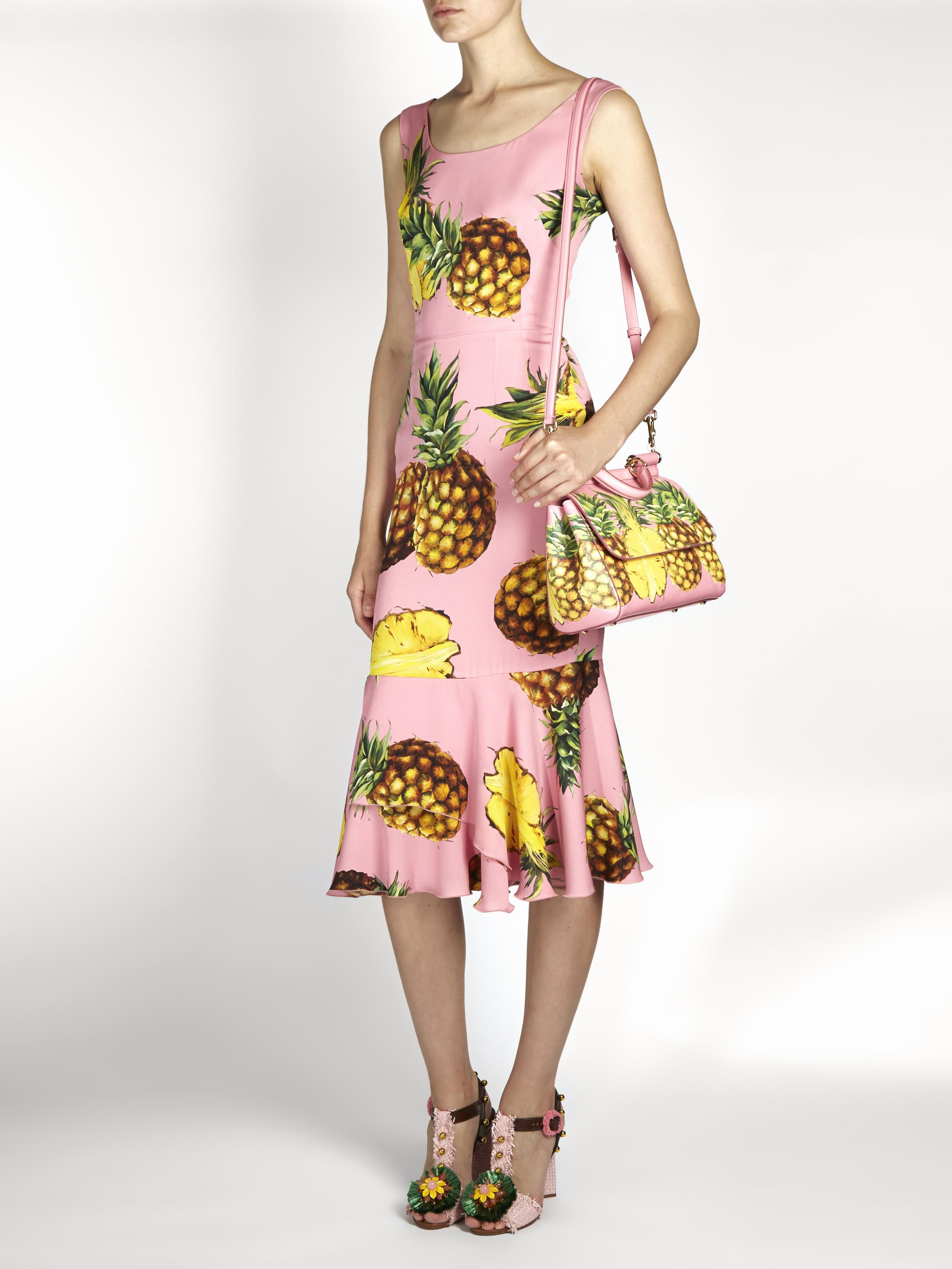 c9ffe69a Dolce & Gabbana Pineapple-print Ruffled-hem Charmeuse Dress in Pink ...