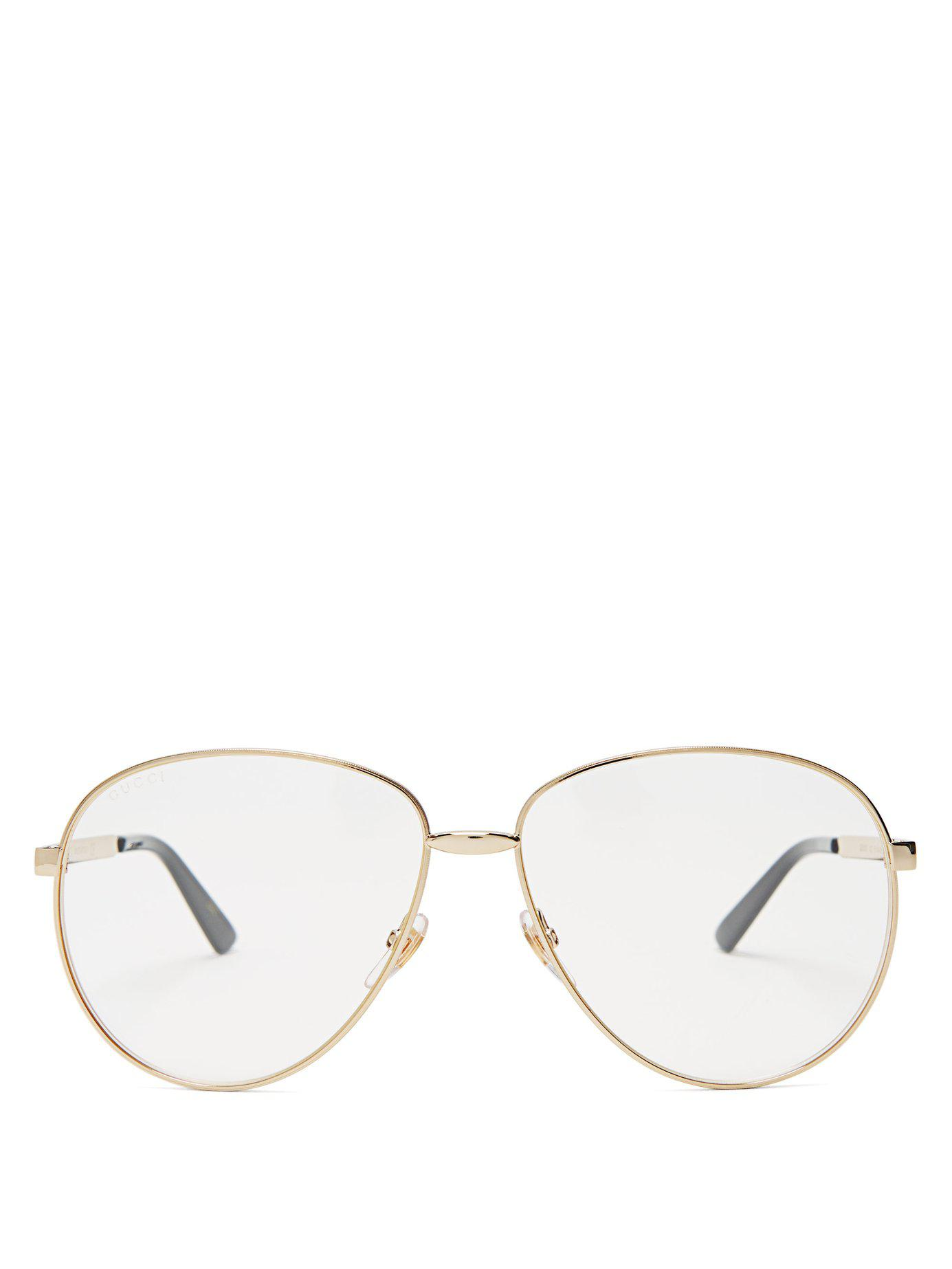 5f6214613e5 Lyst - Gucci Aviator Frame Glasses in Metallic for Men - Save 7%