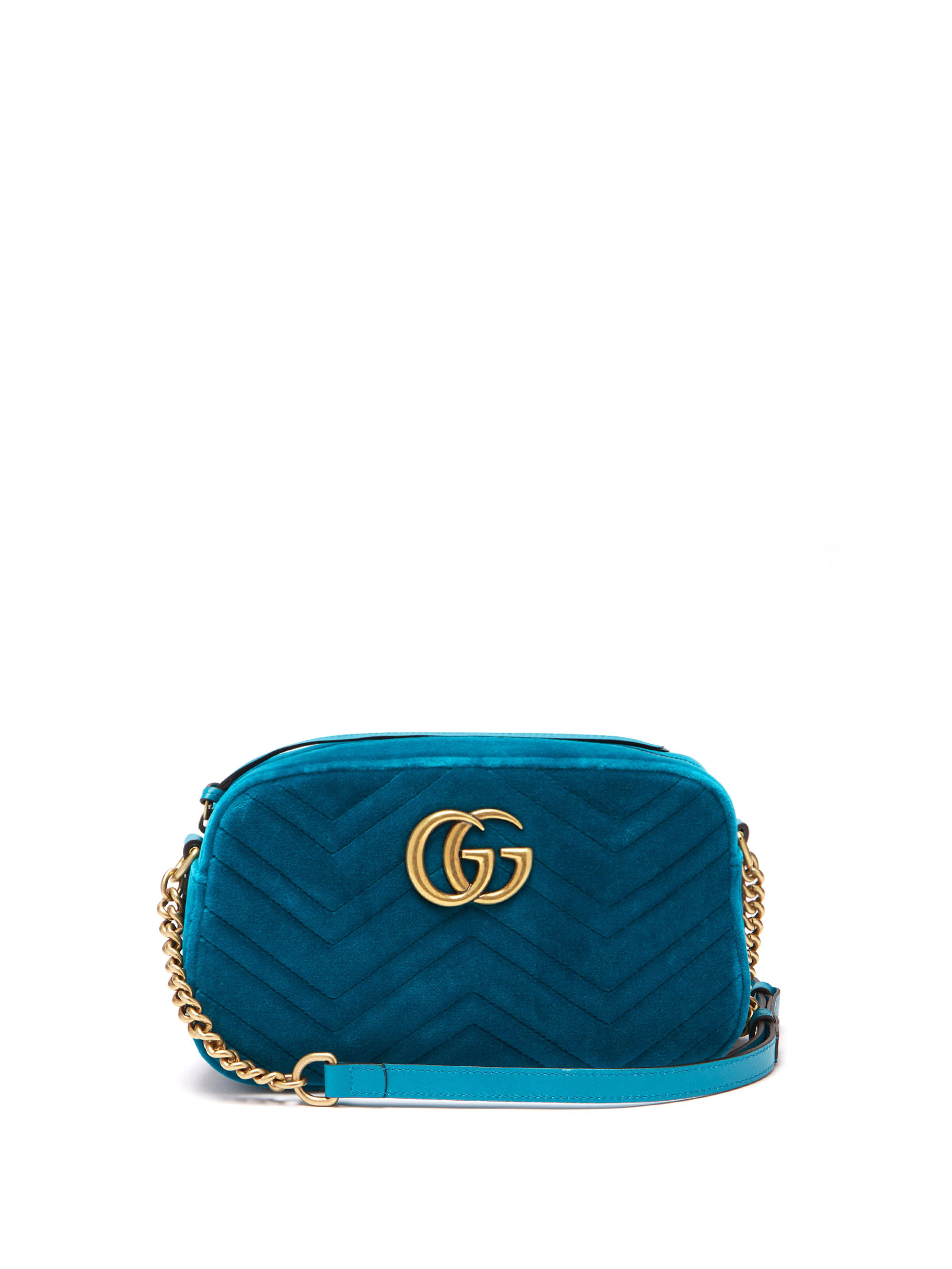 9a66c0a2b278b Gucci Gg Marmont Quilted Velvet Cross Body Bag in Blue - Lyst