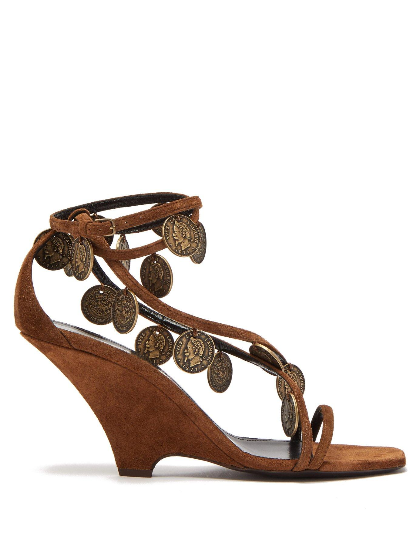 e2e8b4a675b Lyst - Saint Laurent Kim Coin Embellished Suede Wedge Sandals in Brown