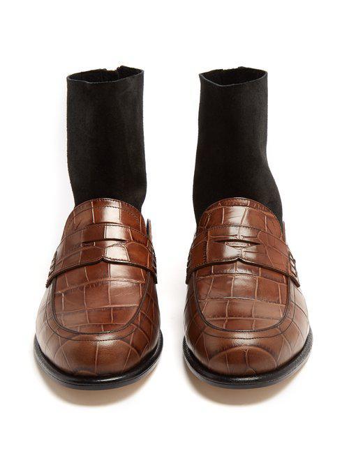 Loewe Crocodile-effect Leather Sock Ankle Boots in Black Brown (Brown)