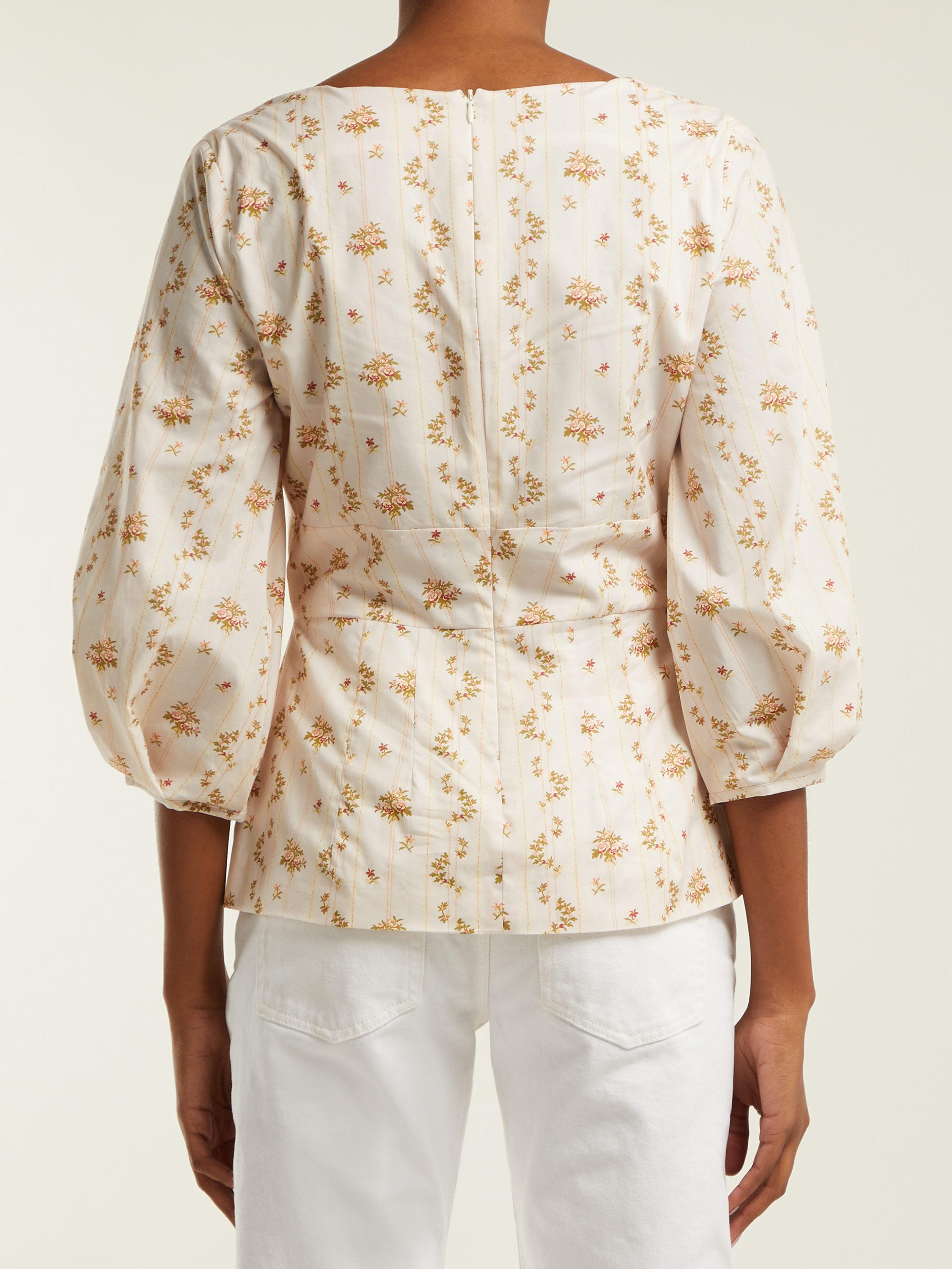 Haut en coton à imprimé fleuri Orrechino Brock Collection en coloris Blanc