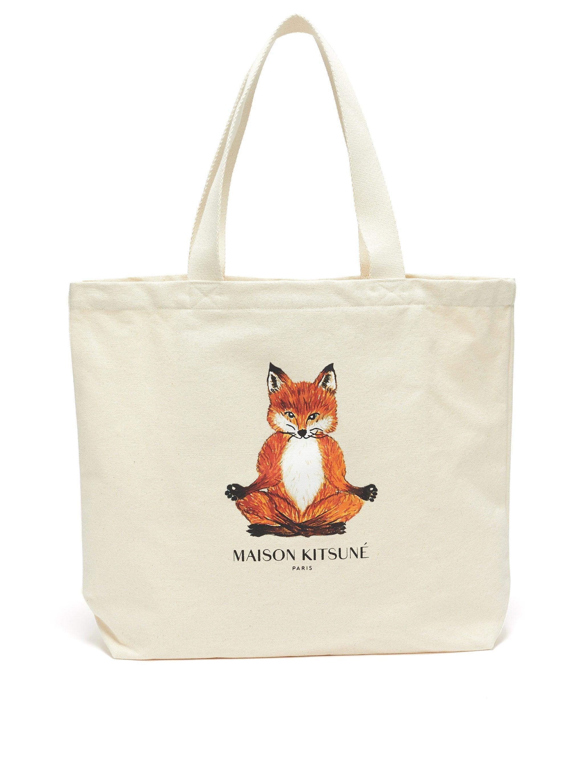 Fox Embroidered Bag Cotton Canvas Messenger Bag