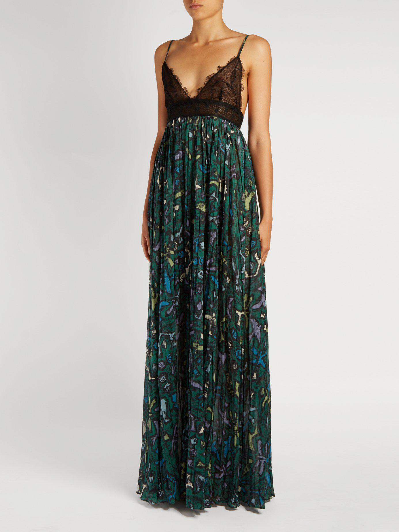 Valentino Panama Print Cotton And Lace Gown Lyst