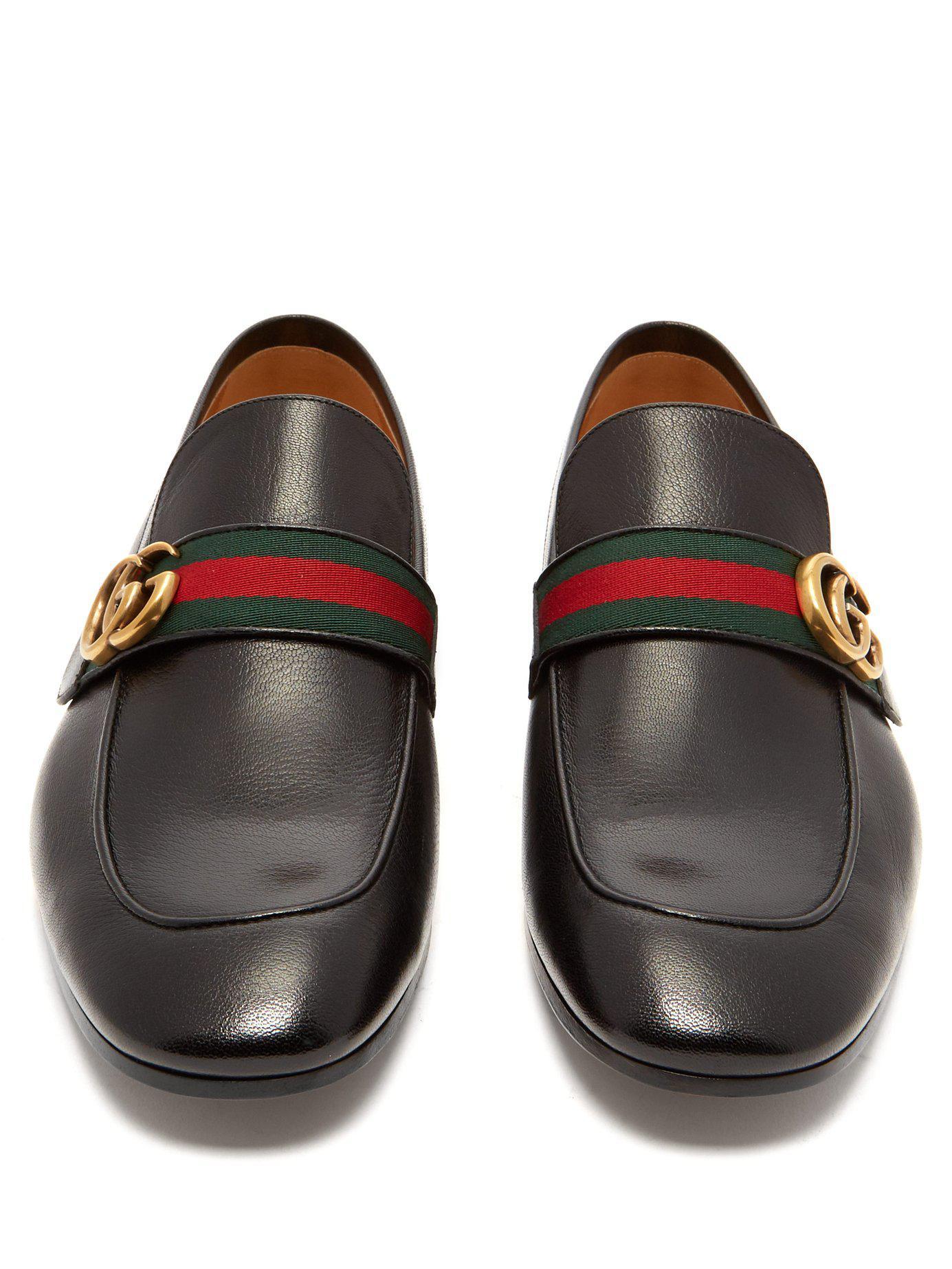 2bb27e80617 Gucci - Black Donnie Gg Web Stripe Leather Loafers for Men - Lyst. View  fullscreen