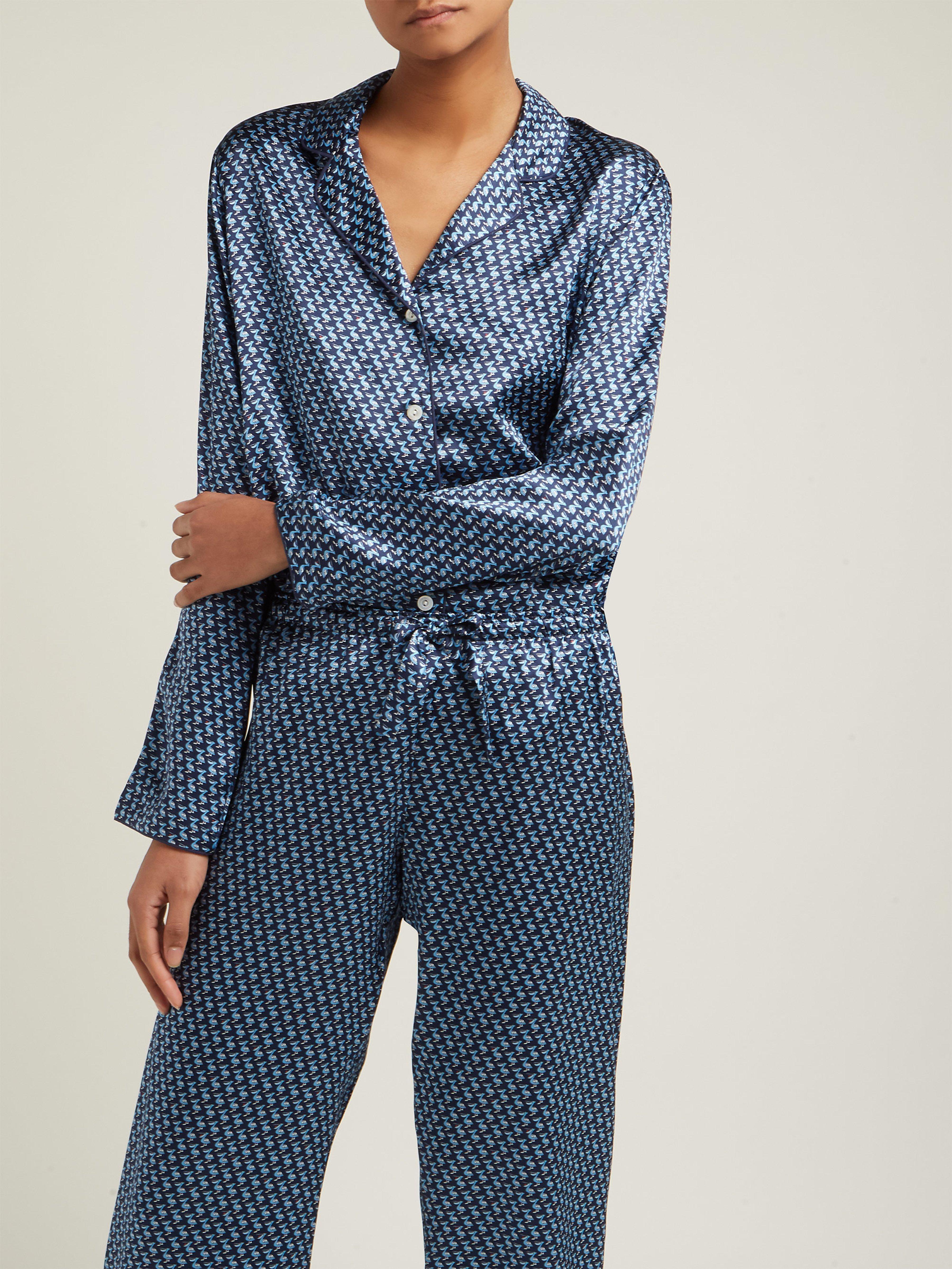 dea1b4c206990 Derek Rose Brindisi 32 Silk Charmeuse Pyjama Set in Blue - Lyst