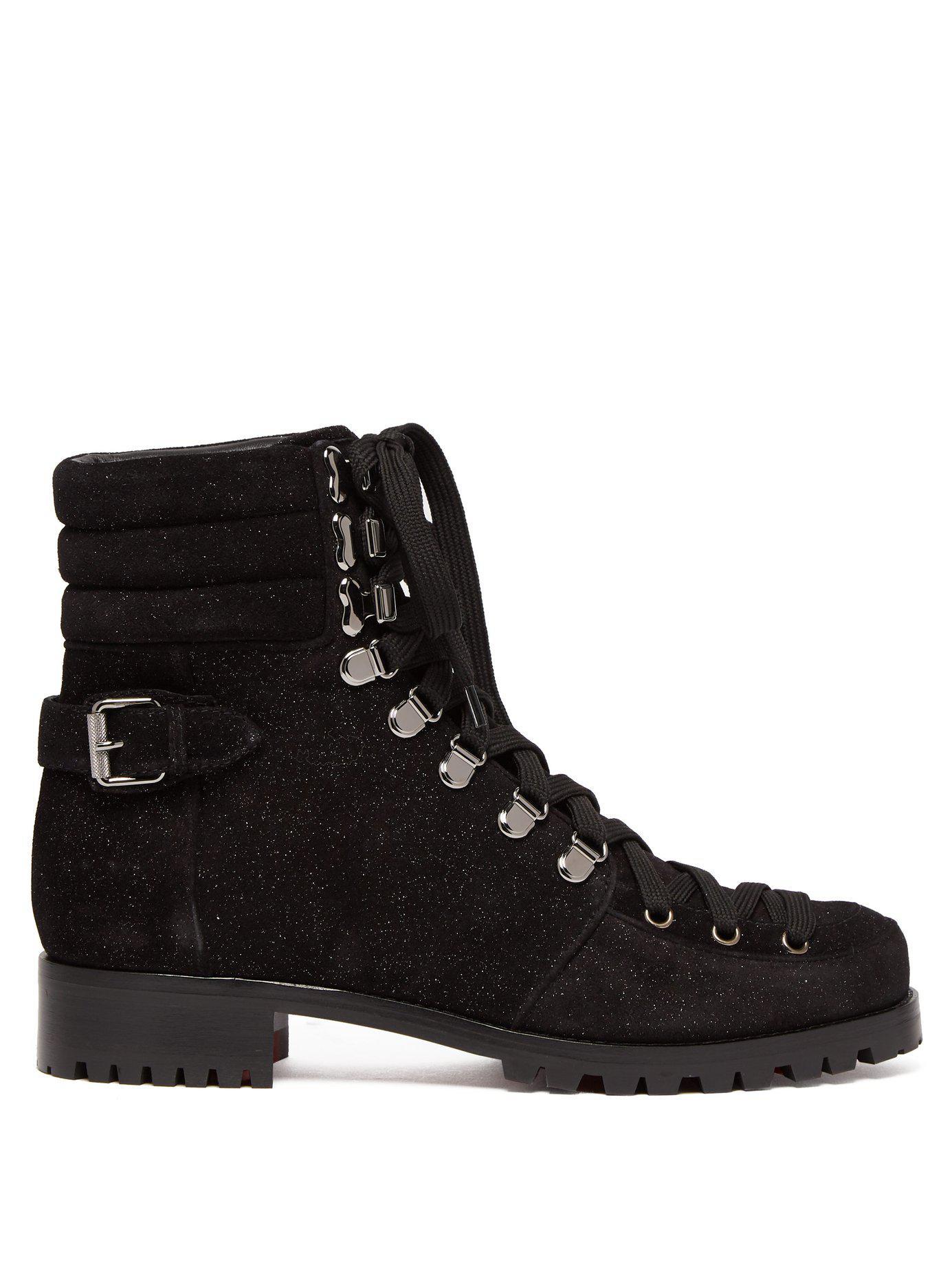 size 40 d9a54 d2c81 Women's Black Who Runs Glitter Suede Hiking Boots
