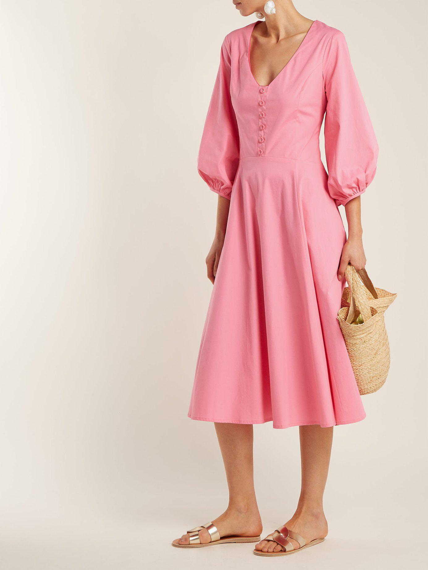 STAUD Veronica Cotton Poplin Midi Dress in Pink   Lyst