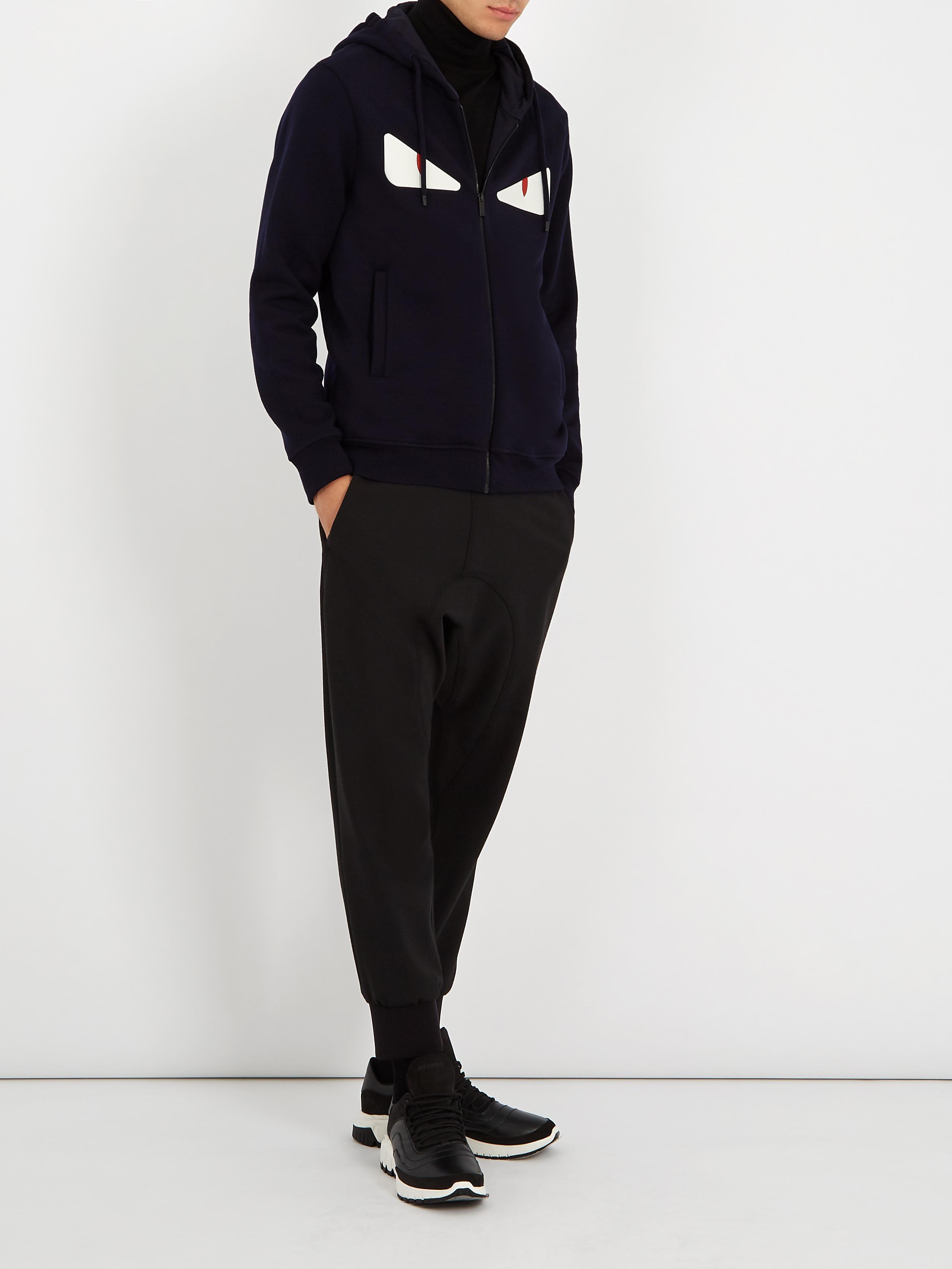 d22e37696444 Lyst - Fendi Bag Bugs-appliqué Hooded Wool-blend Sweatshirt in Blue ...